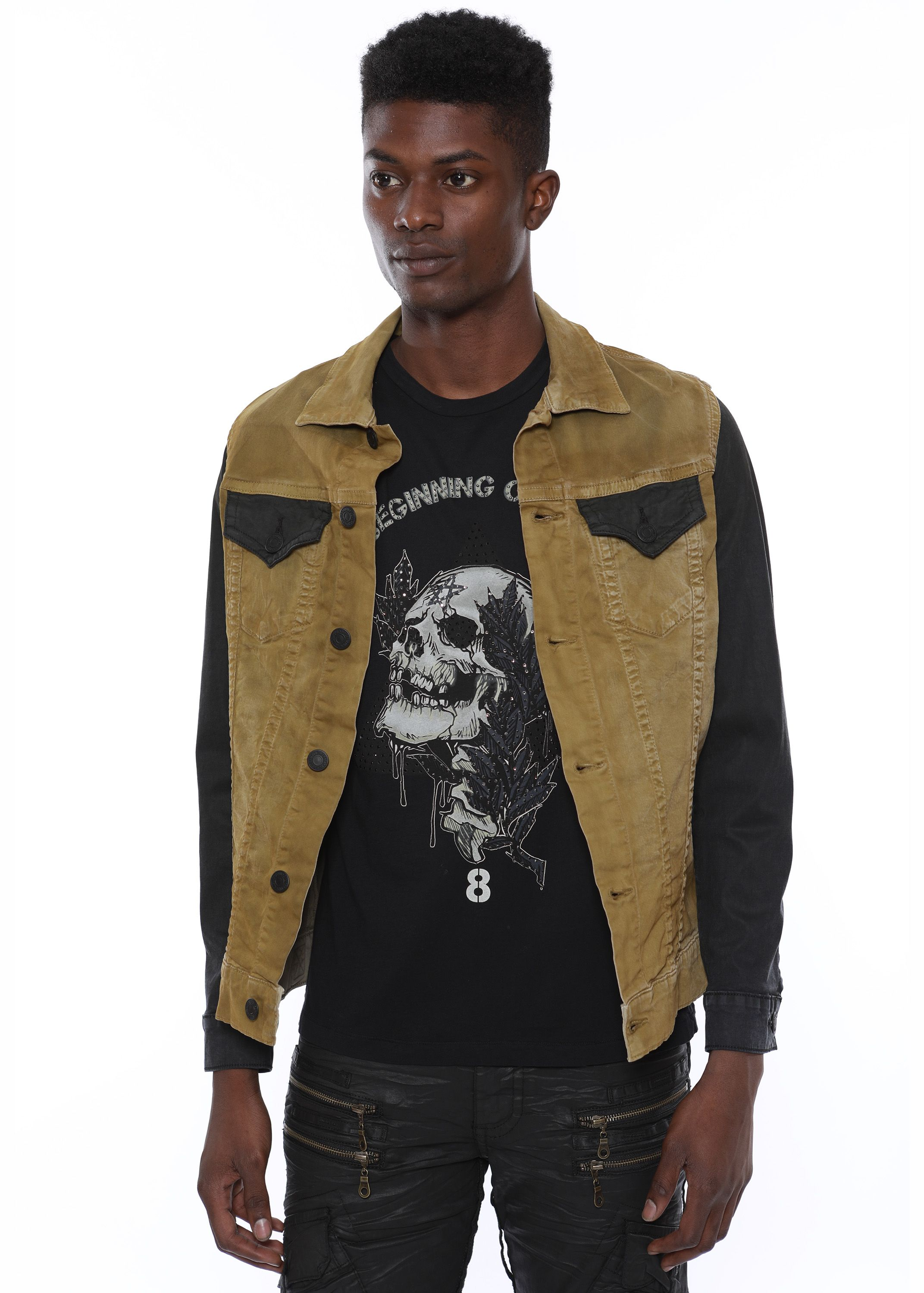 DENIM JACKET IN LA KANGAROO WITH PATCHES