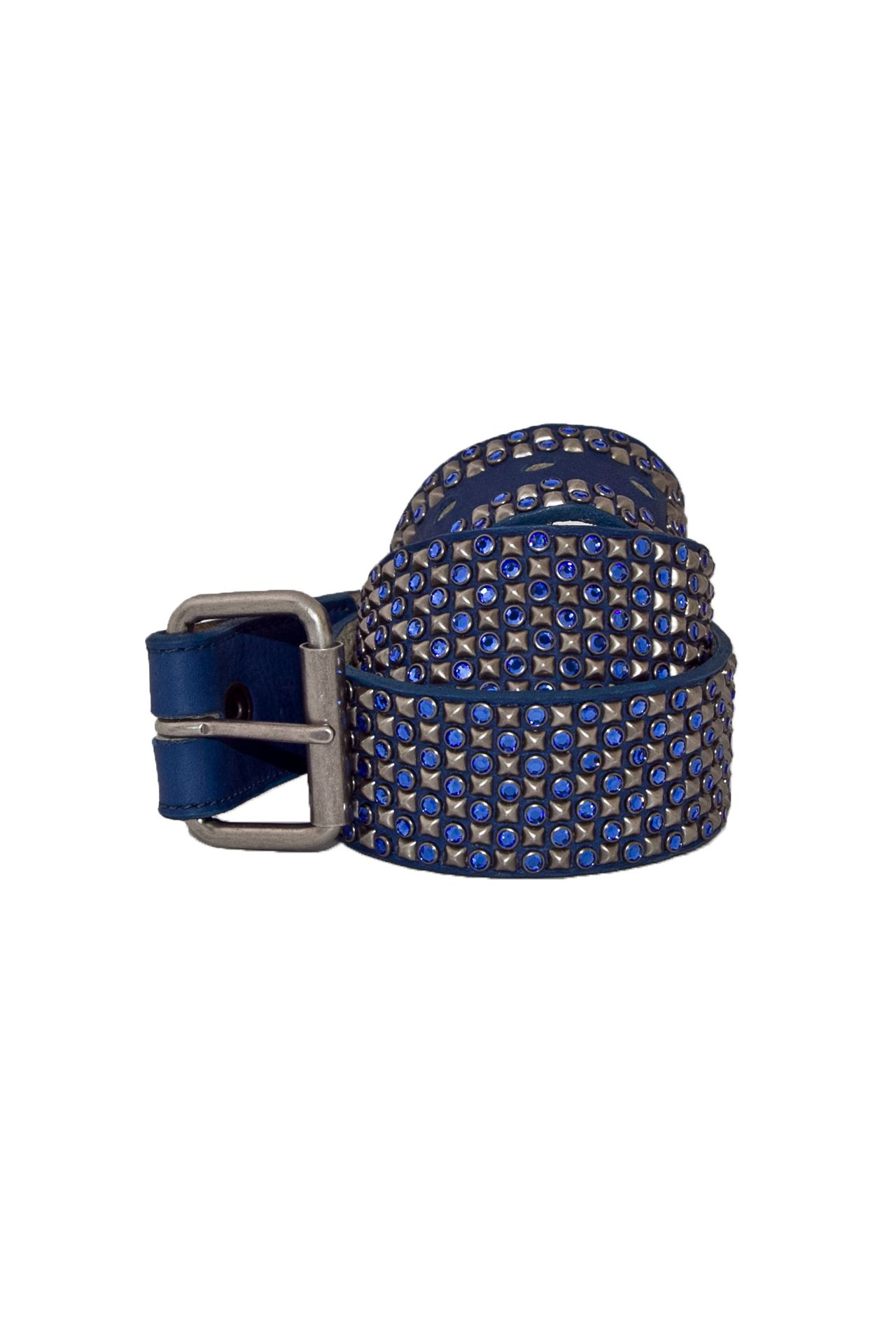 BLUE LEATHER BELT AURUM