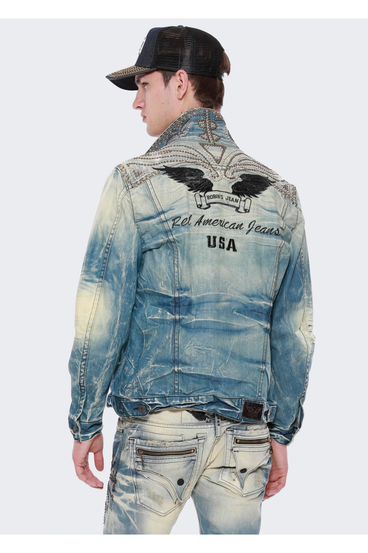 DENIM JACKET WITH NAILHEAD STUDS
