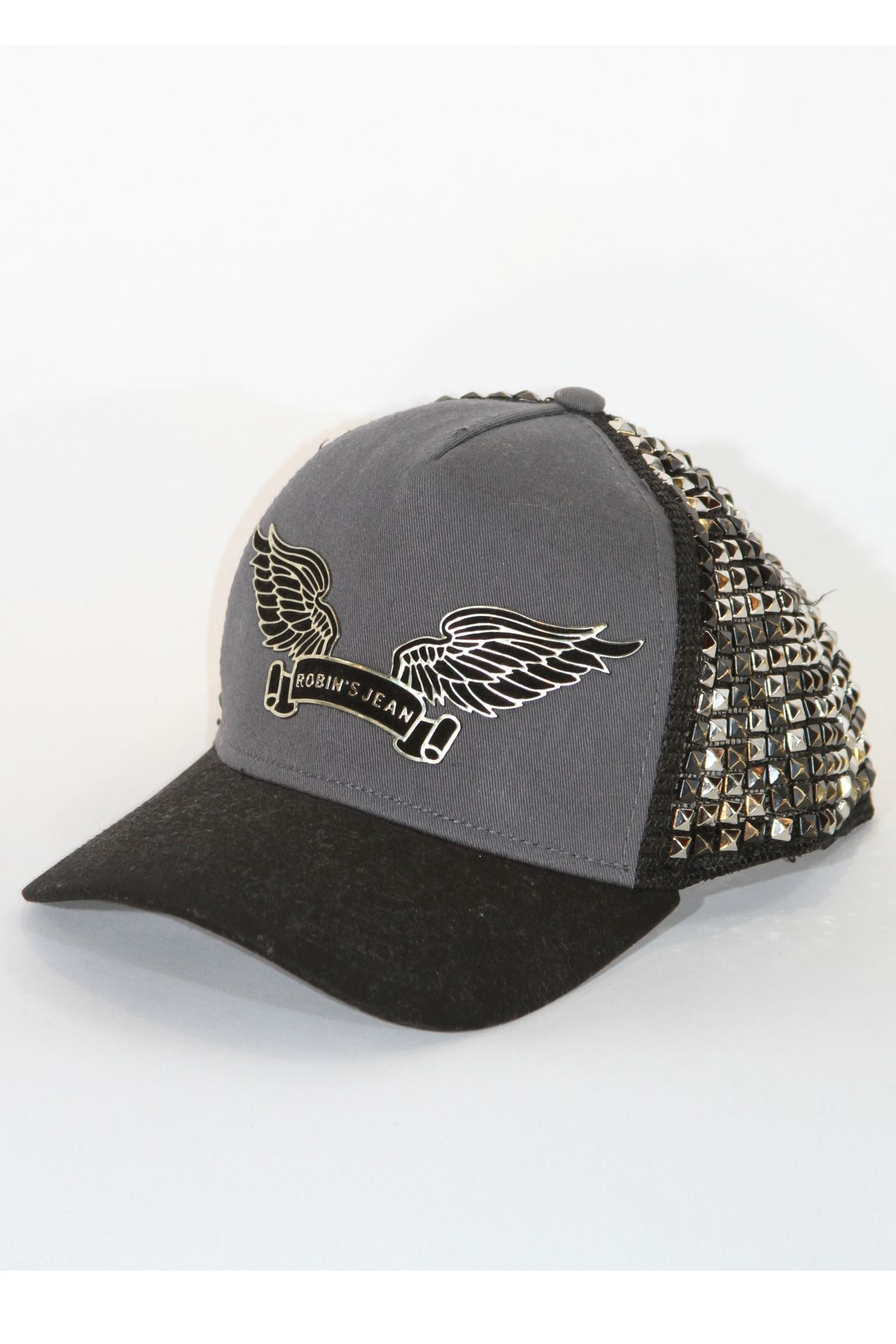 FULLY STUDDED CAP IN CHARCOAL WITH NICKEL AND BLACK PYRAMIDS