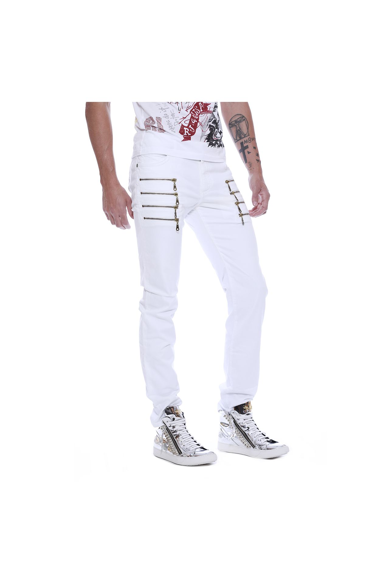 MOTORCYCLE ZIPPERS IN WHITE