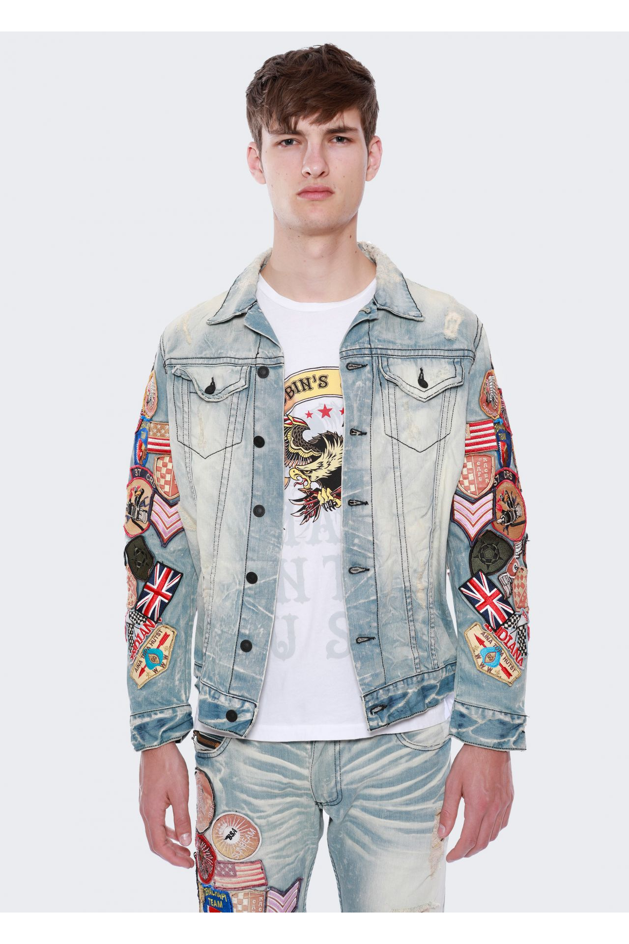 DENIM JACKET IN 5D LIGHT BROKEN WITH PATCHES