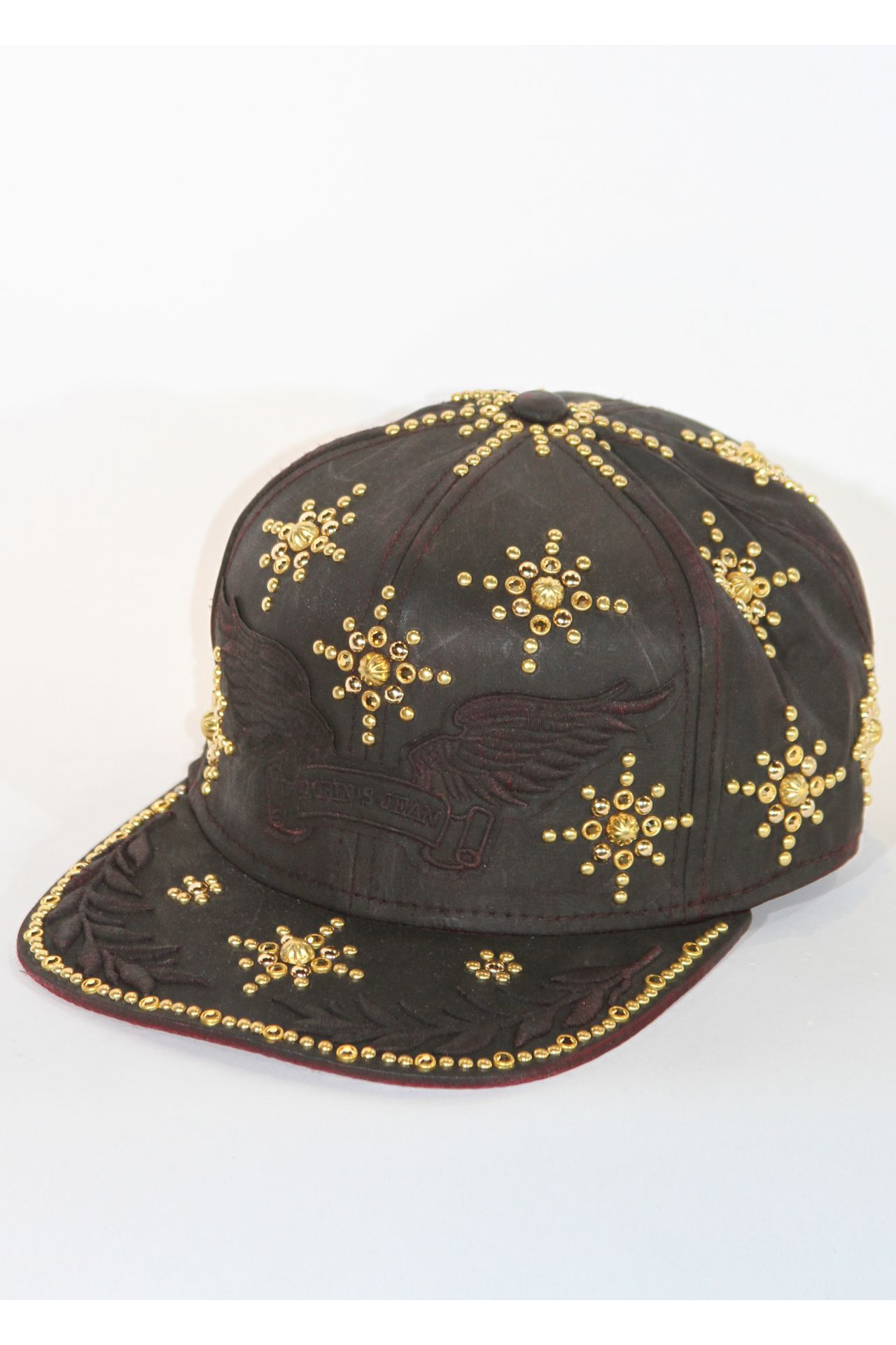 RED CAP HAND-PAINTED IN BLACK WITH GOLD SW