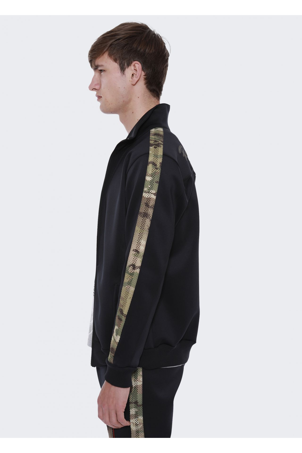 TRACK JACKET PIPING IN BLACK CAMO