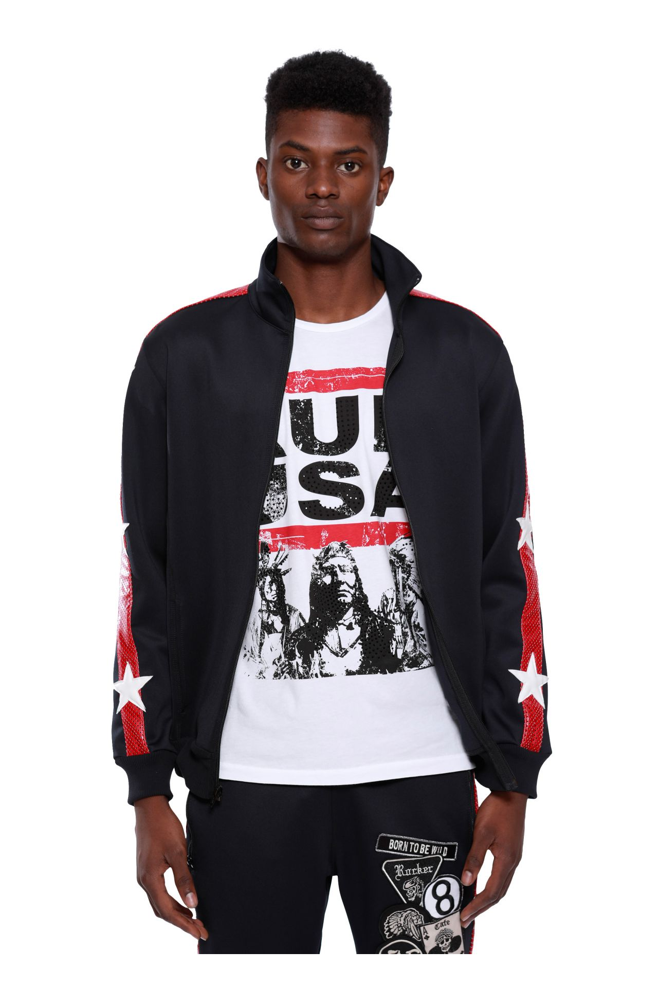TRACK JACKET WITH PATCHES IN BLACK