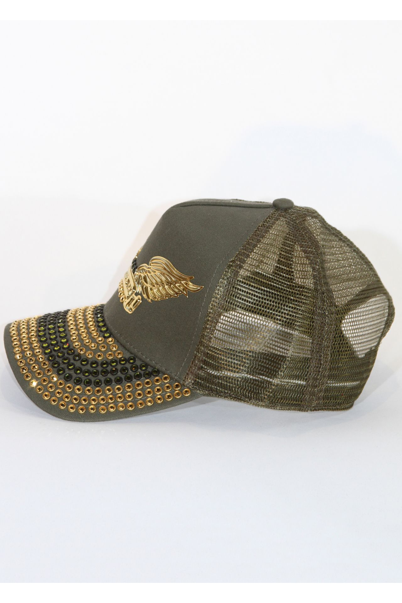 TRUCKER CAP IN OLIVE WITH AURUM AND OLIVE SW