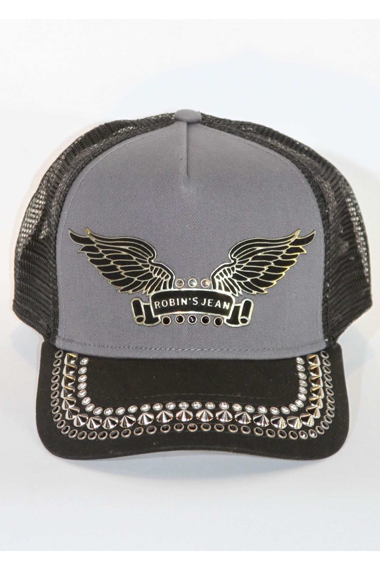 TRUCKER CAP IN CHARCOAL WITH JET BLACK NICKLE SPIKES
