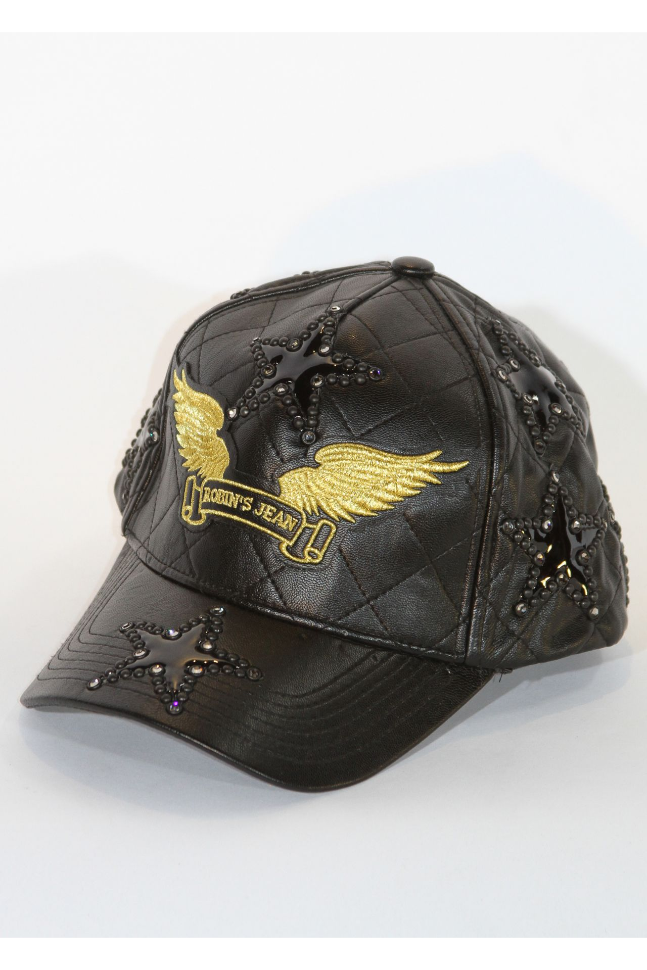 BLACK QUILTED LEATHER CAP WITH STUDDED STAR