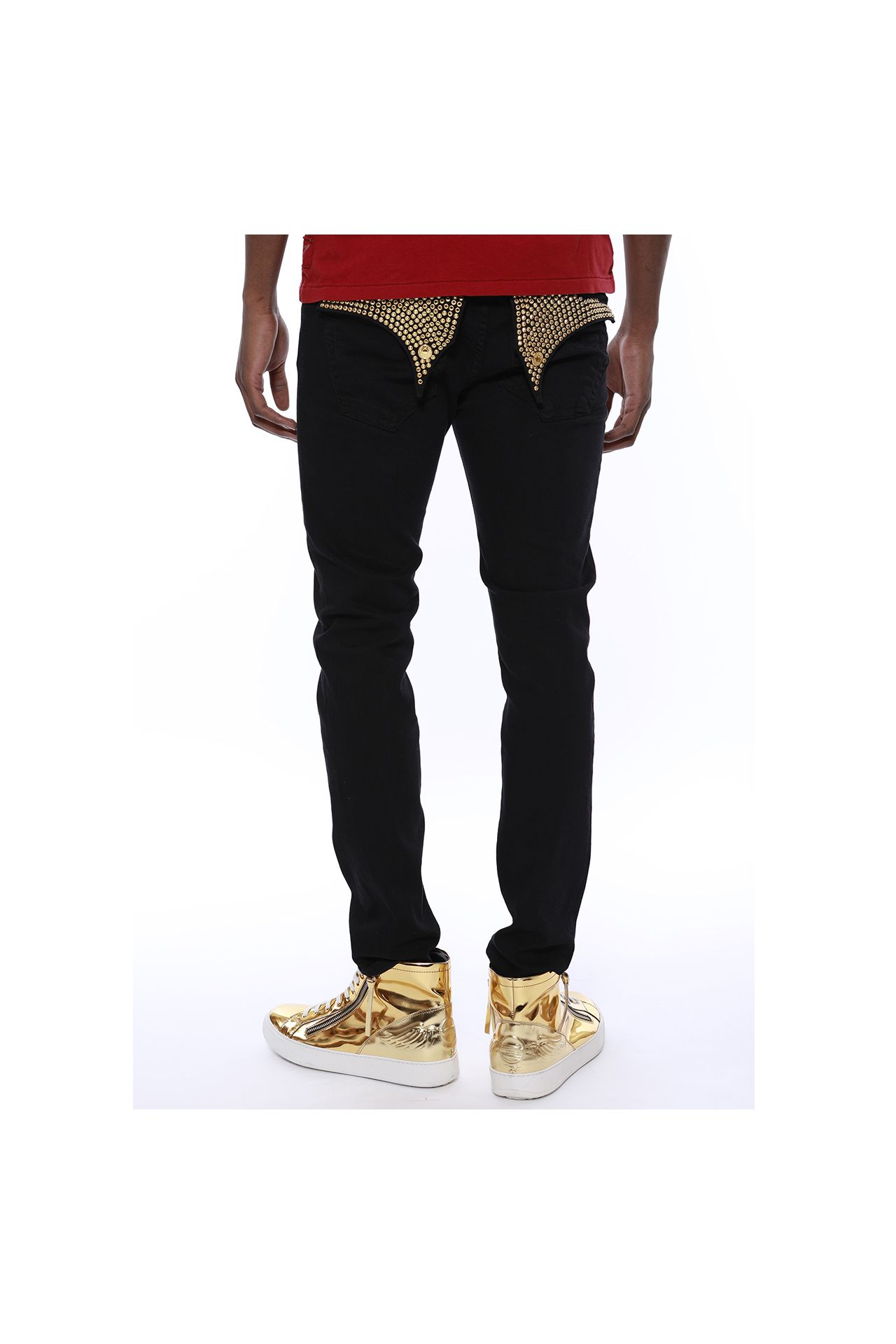 SKINNY JEANS IN PURE BLACK W/ GOLD STUDS