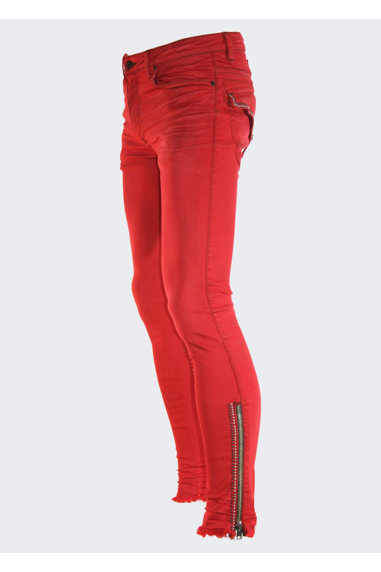 SUPER SKINNY IN F_UP RED WITH STUDS AND ZIPPER