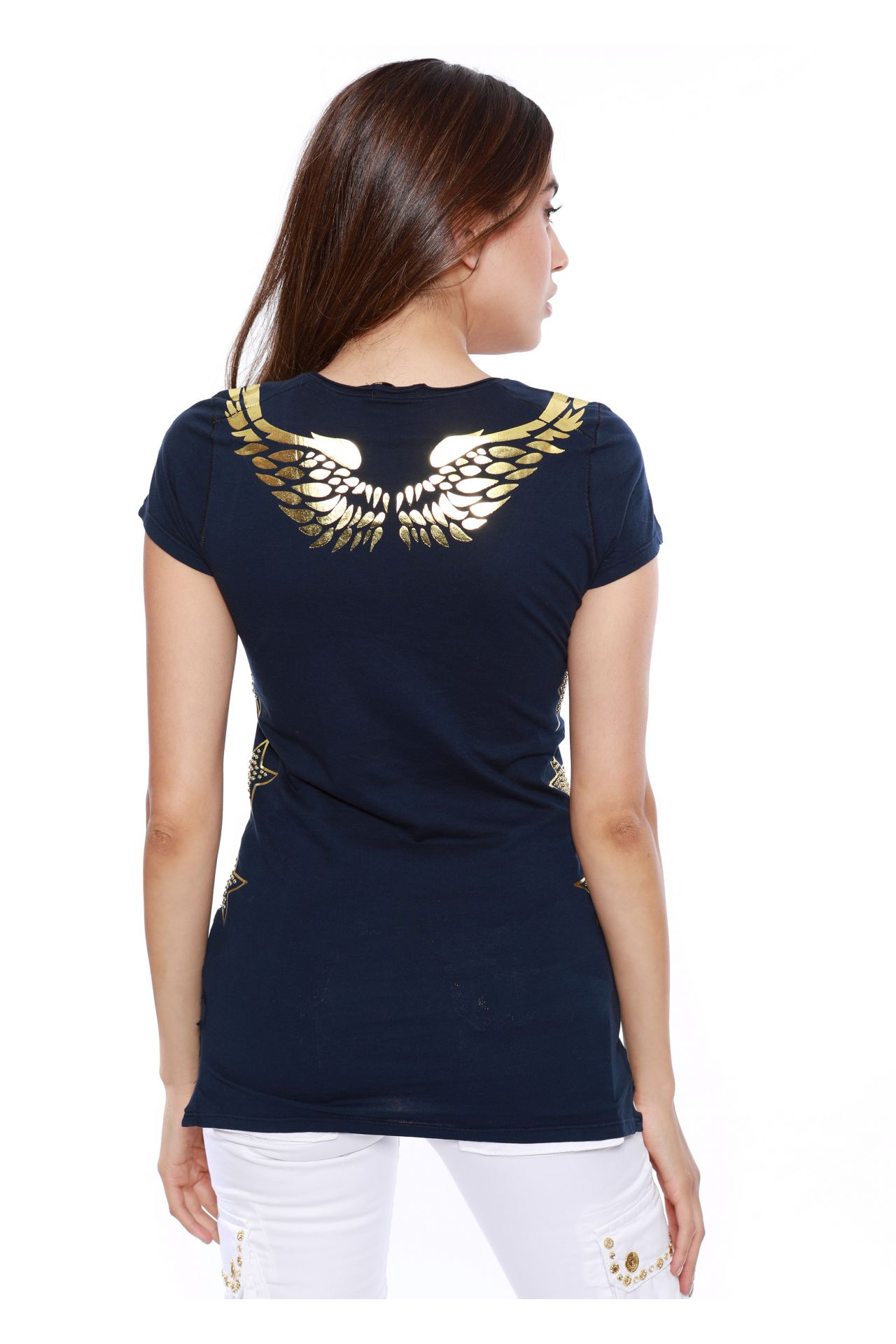 LASER CUT WINGS TEE IN NAVY