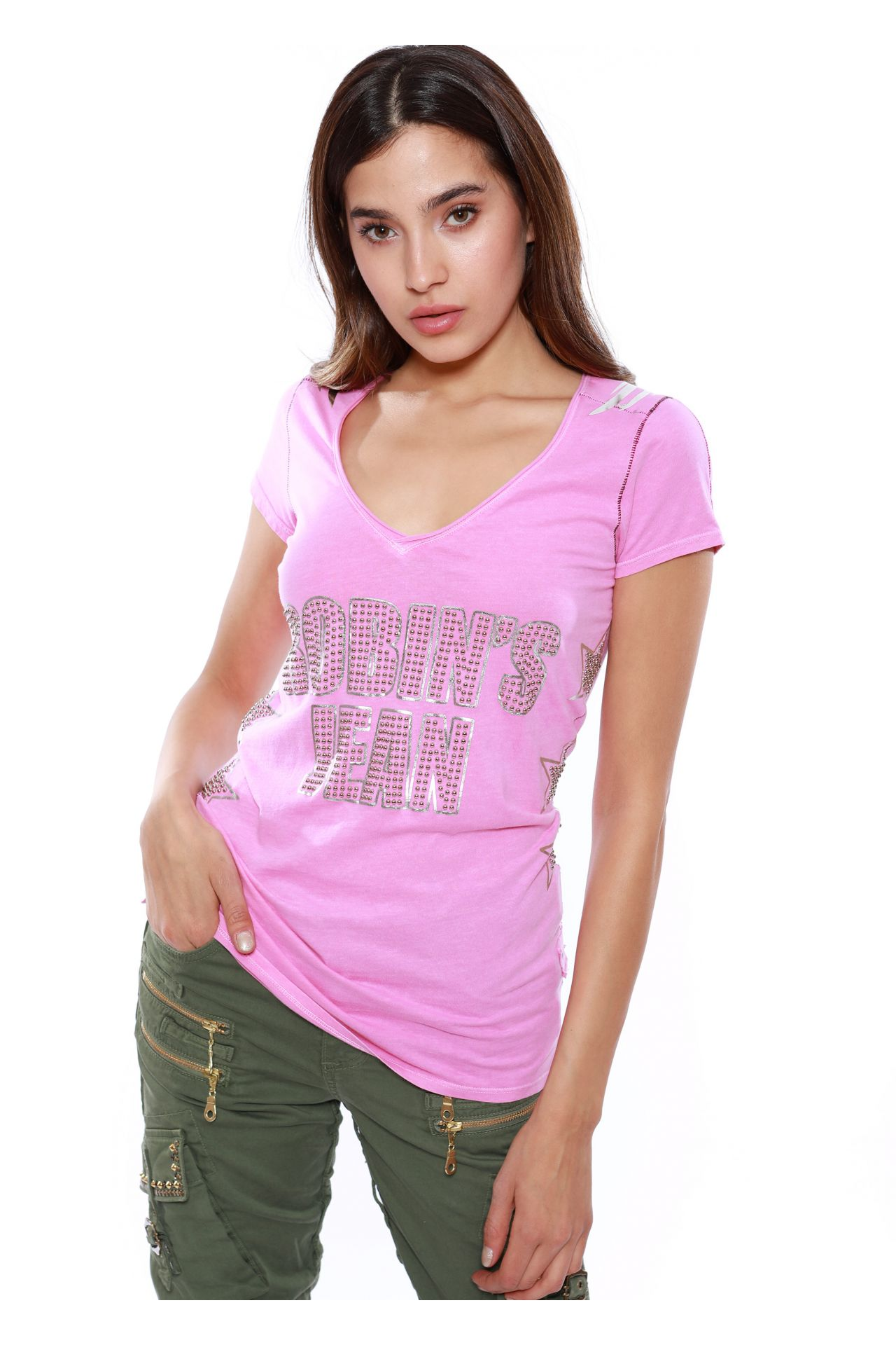 LAZER CUT WINGS STUDDED TEE IN HOT PINK