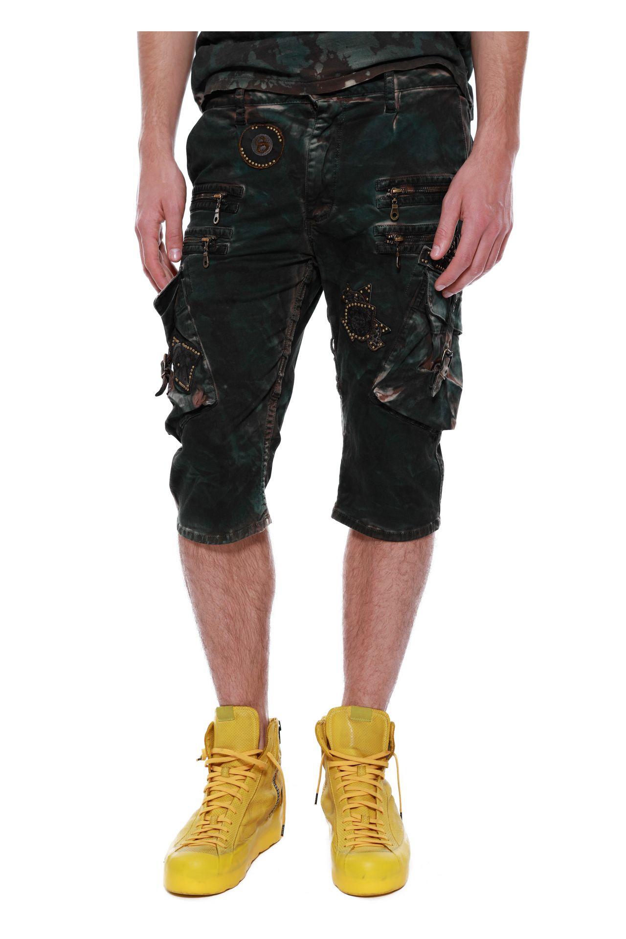 RAPTOR SHORTS IN MILITARY GREEN CAMO WITH PATCHES & STUDS