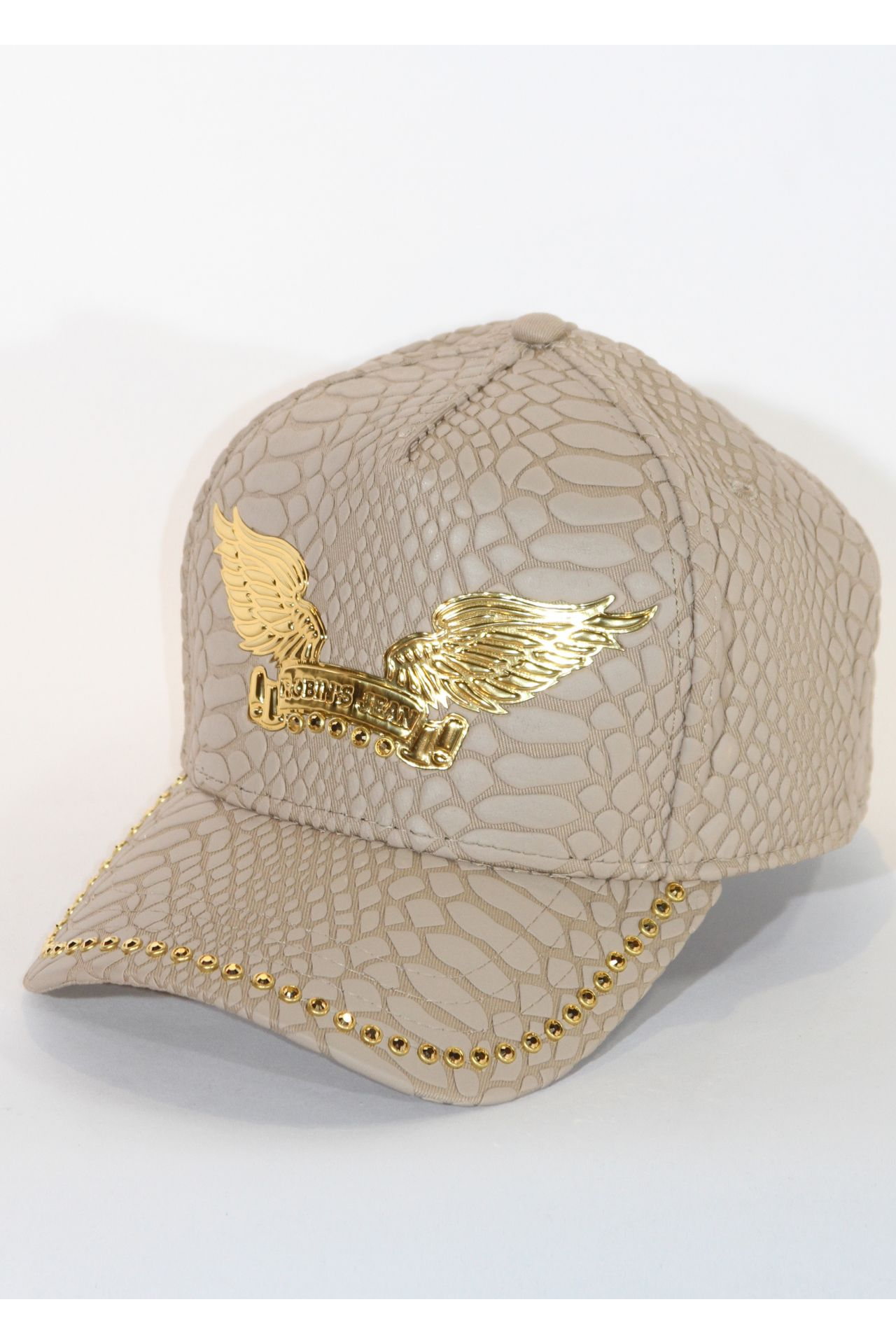 CRACKLE HAT IN KHAKI WITH GOLD SW