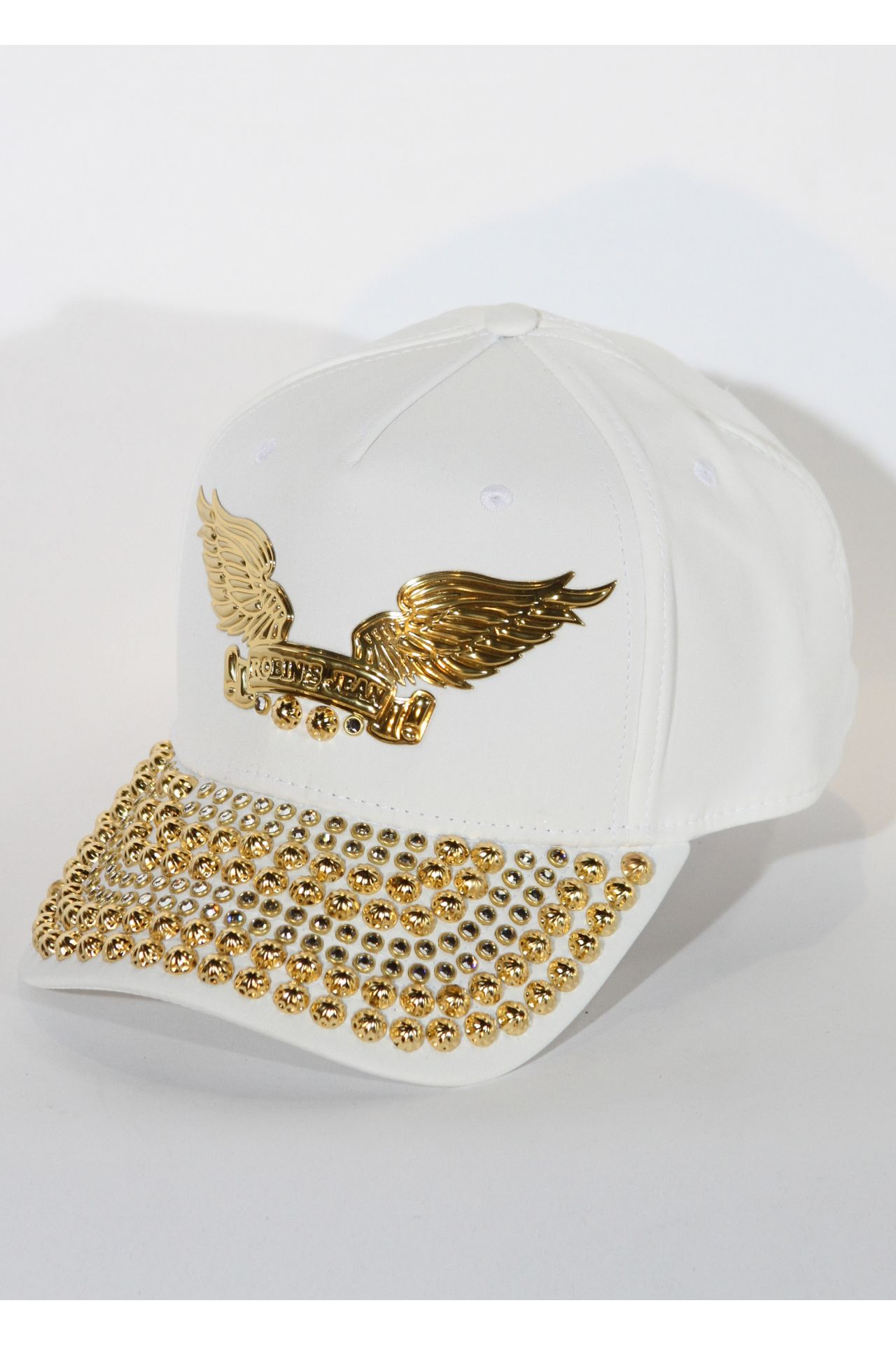 WHITE CAP WITH CLEAR SW AND GOLD PARACHUTES