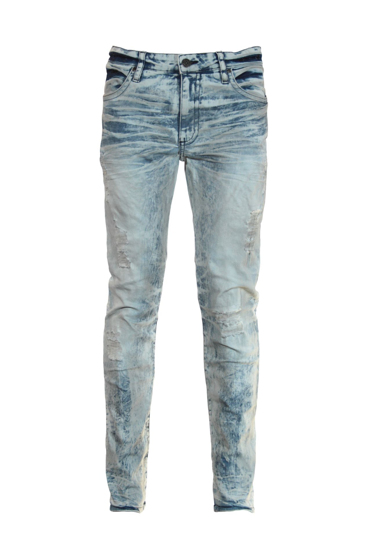 SKINNY JEAN IN MINERAL MEDIUM BROKEN BACKING WITH SAPPHIRE SW