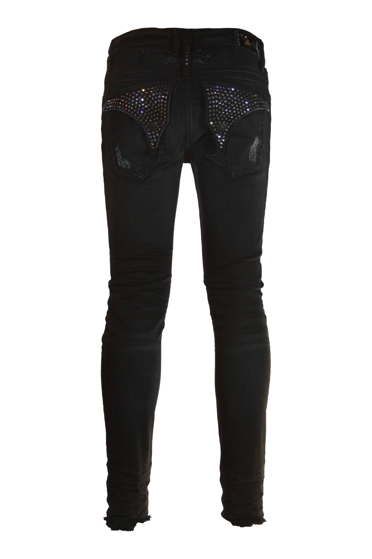 SKINNY LONG FLAP IN F_UP BLACK WITH SW CRYSTALS