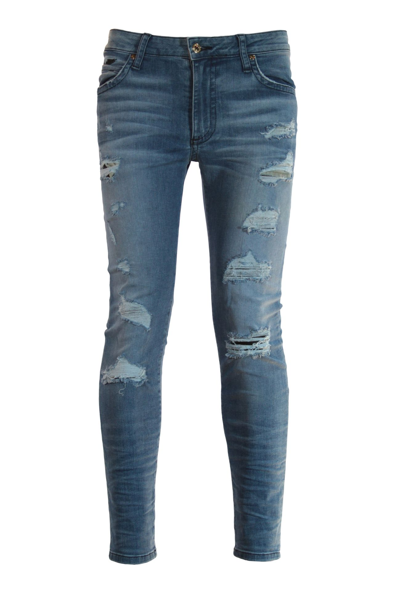 SKINNY LONG FLAP JEAN IN ELROY MEDIUM BROKEN BACKING WITH CRYSTALS