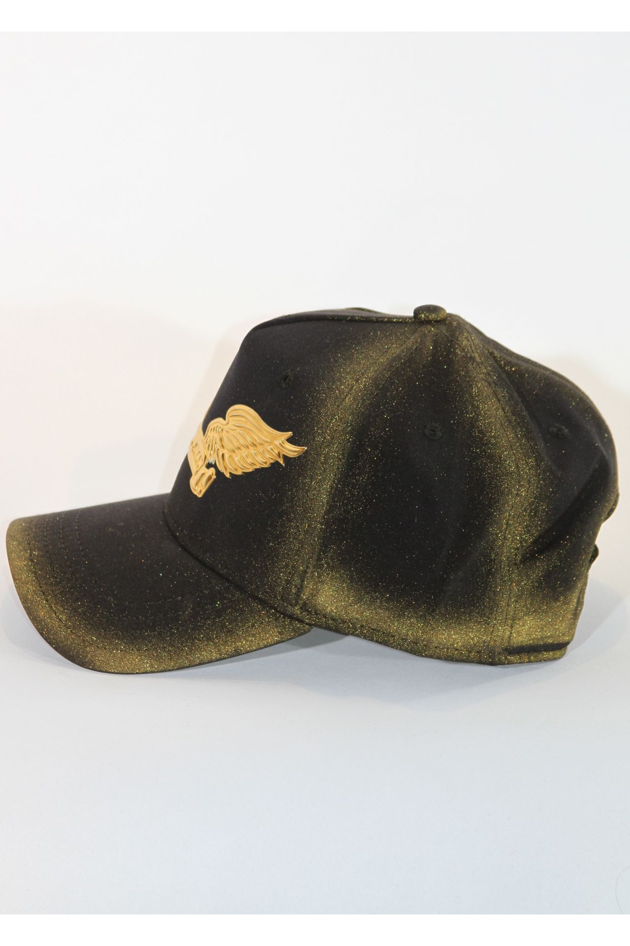 BLACK CAP WITH GOLD STARDUST