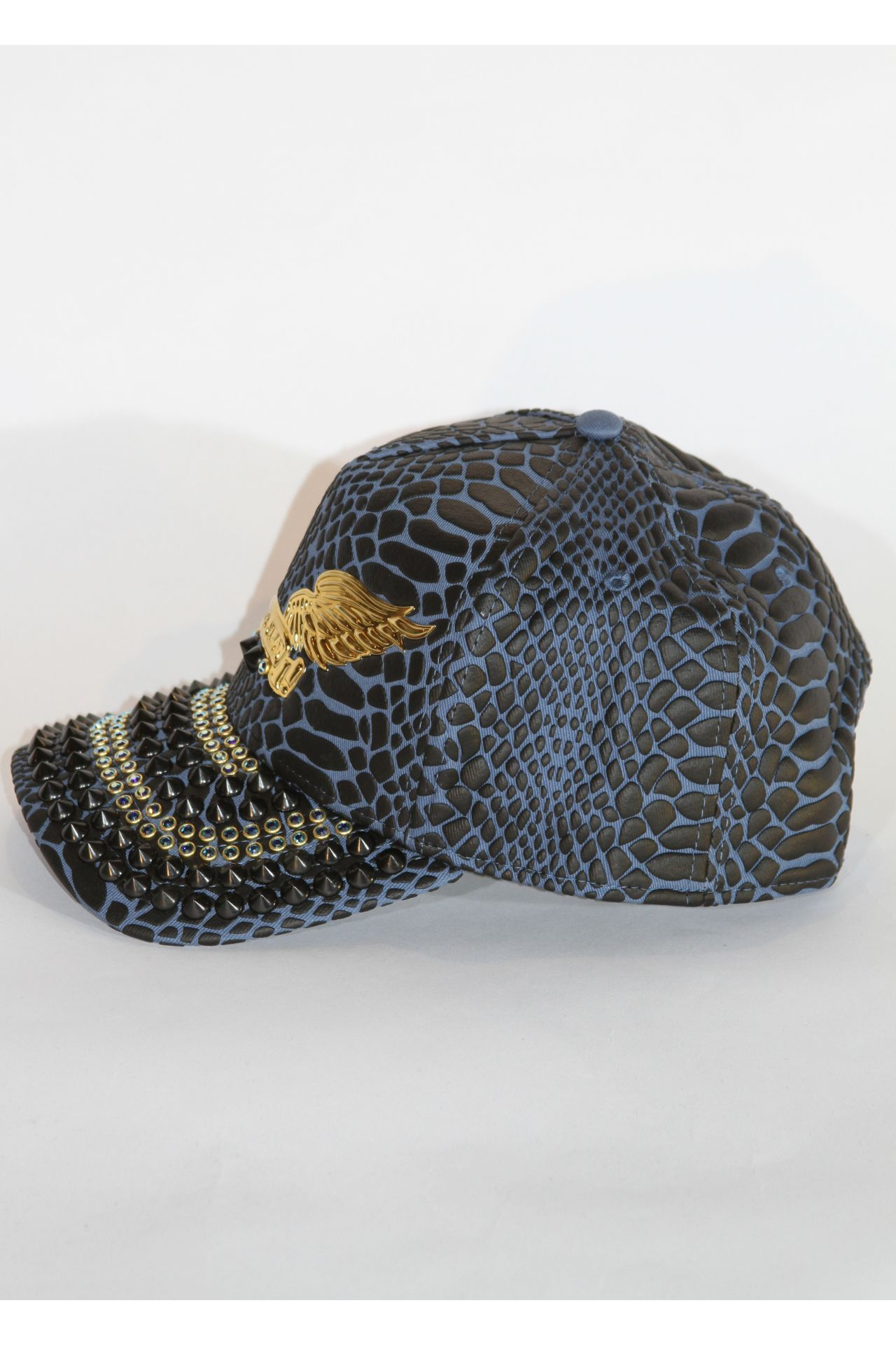 CRACKLE HAT IN BLUE BLACK WITH SAPPHIRE SW