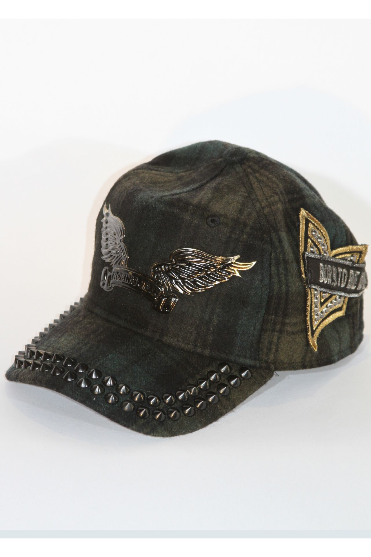 CAP IN GREEN WITH BLACK SPIKES & PATCHES