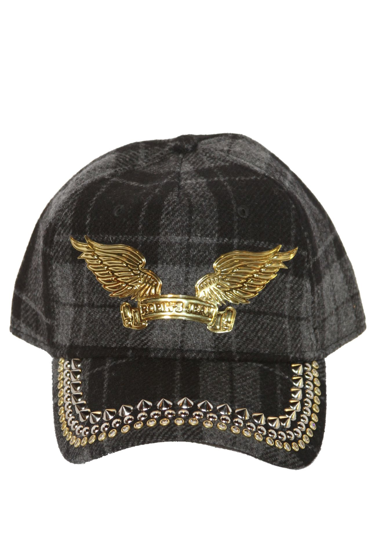 Charcoal cap with Clear SW and Nickle spikes with signature Robin's Wings