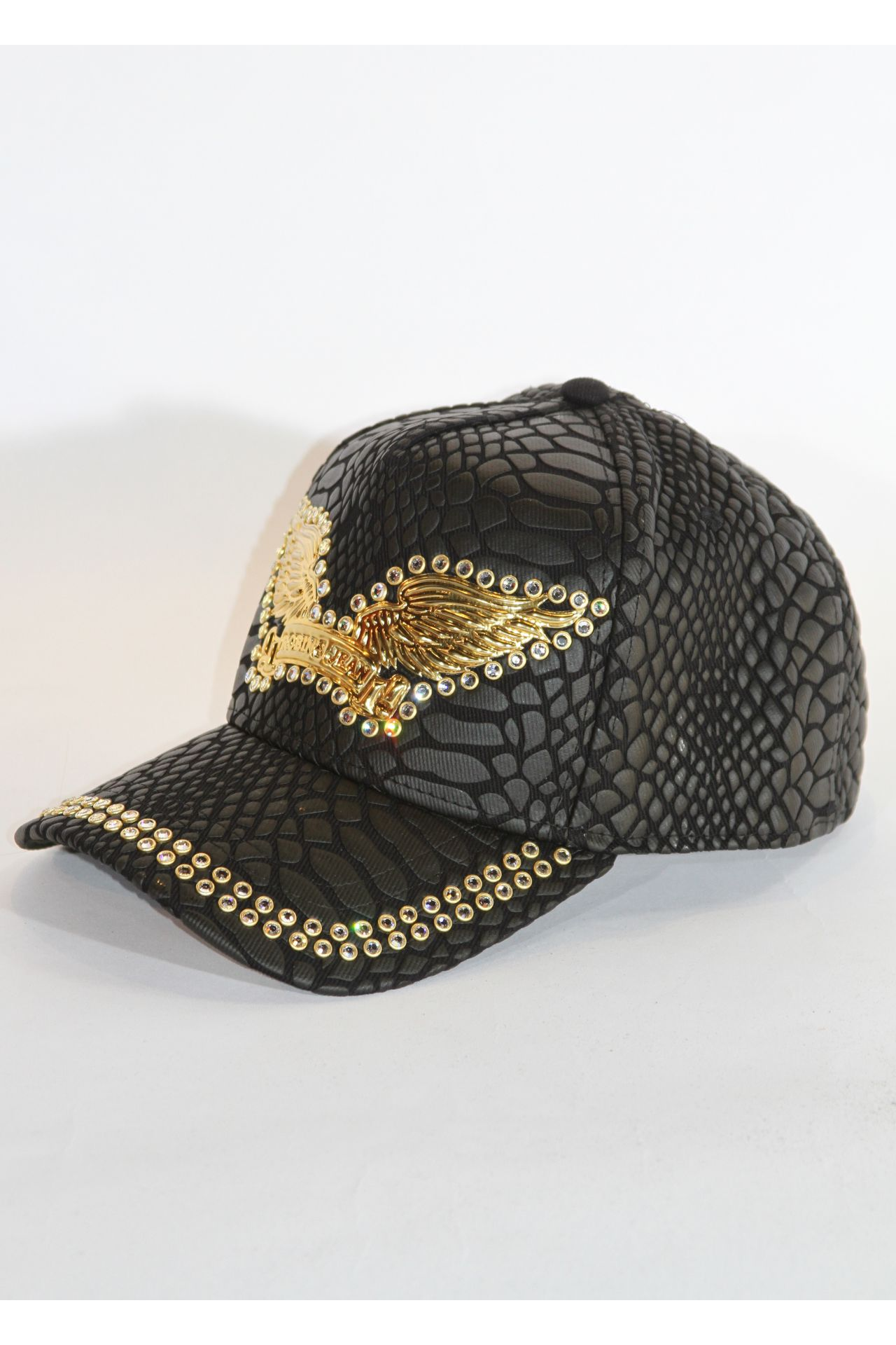 CRACKLE HAT IN BLACK WITH CLEAR CRYSTALS