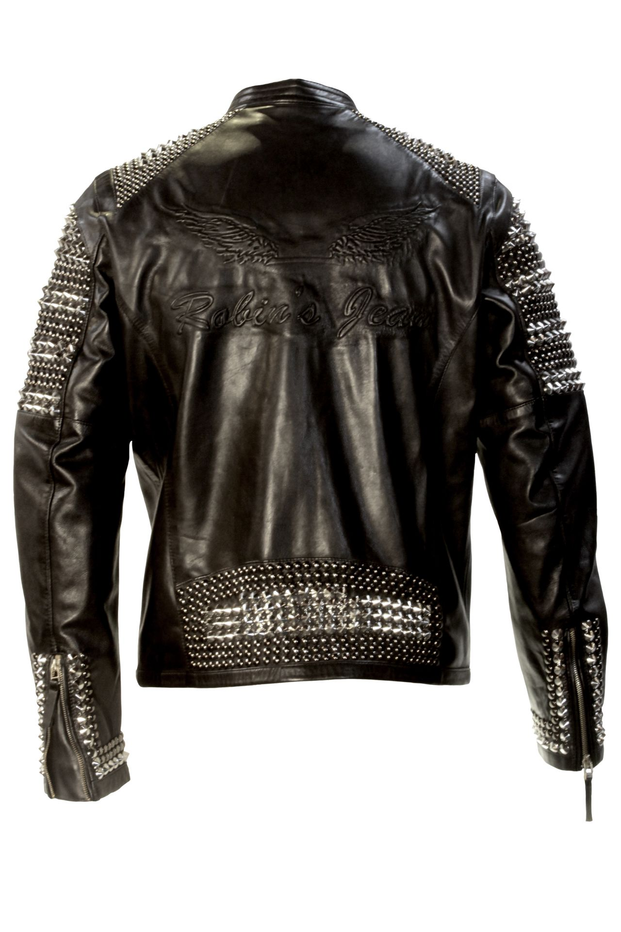 STUDDED LEATHER JACKET IN BLACK