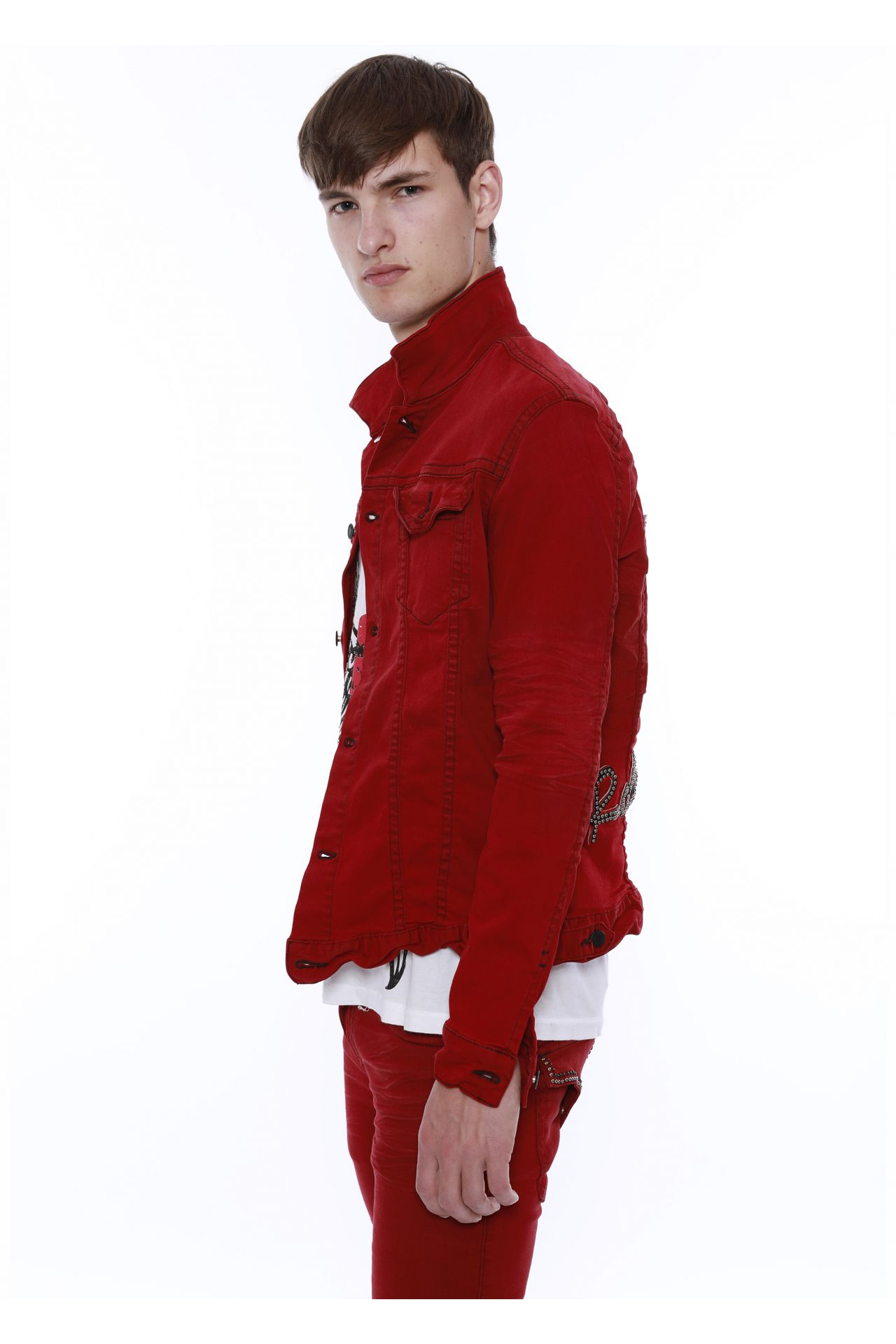 DENIM JACKET IN F_UP RED WITH STAR PATCH
