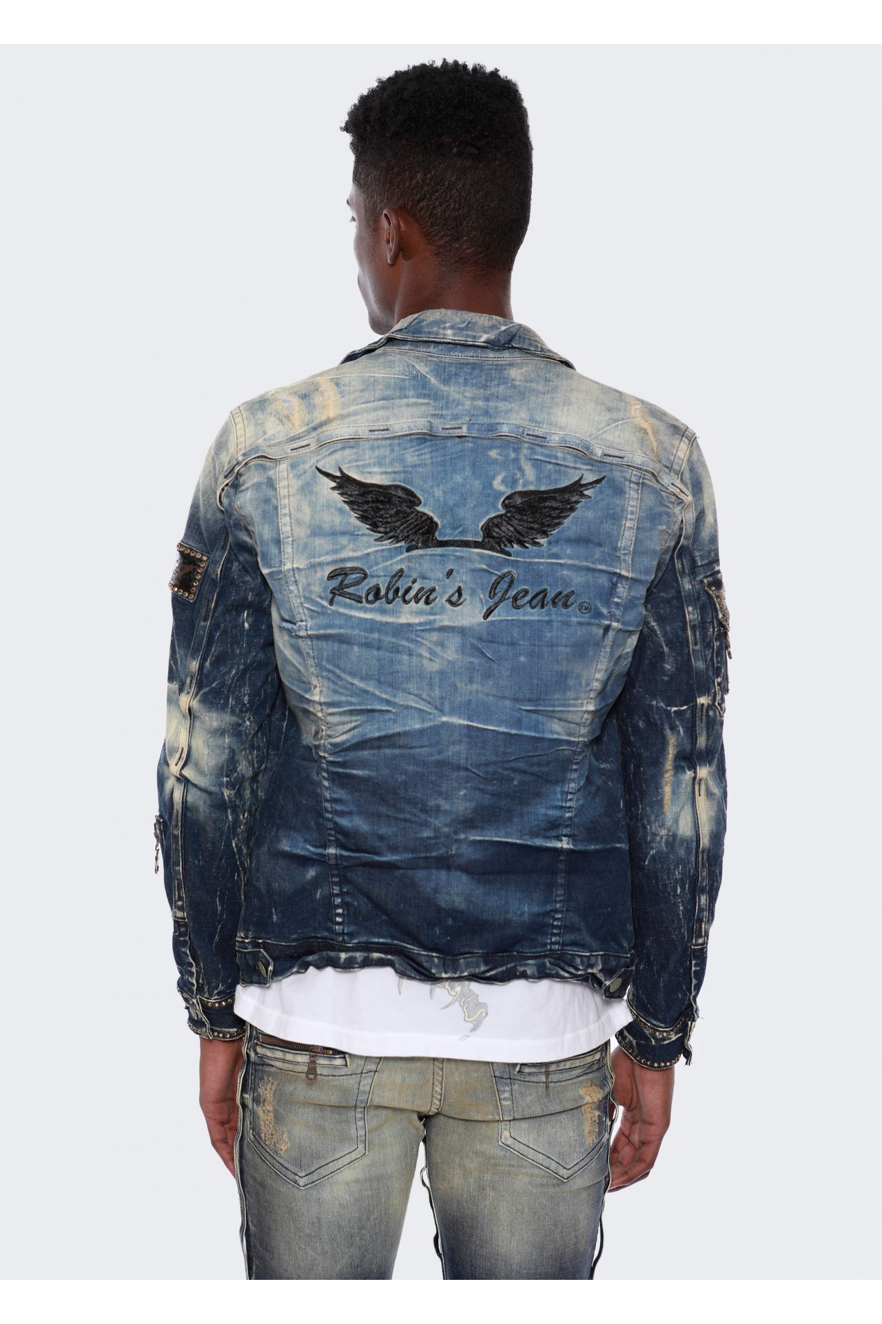 DENIM JACKET IN 5D DARK BROKEN WITH BLACK DIAMOND SW