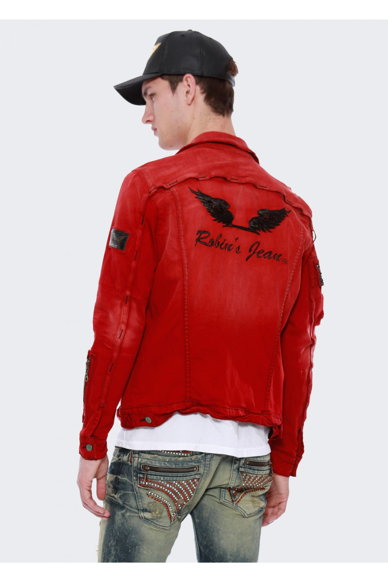DENIM JACKET IN F_UP RED WITH BLACK DIAMOND SW