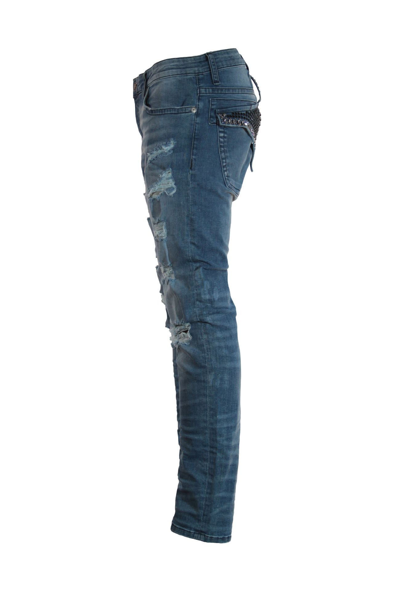 SKINNY JEAN IN ELROY MEDIUM BROKEN BACKING WITH GOLD AND SAPPHIRE SW