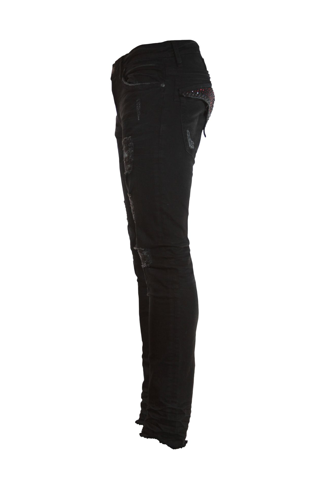 SKINNY JEAN IN F_UP BLACK WITH BLACK DIAMOND AND RED SW