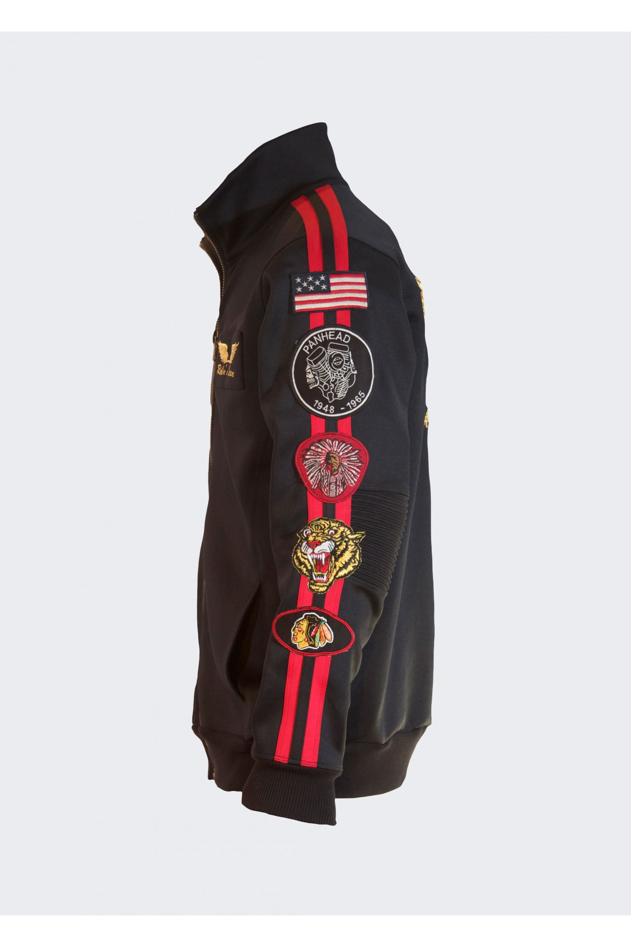 TRACK JACKET WITH STRIPES AND PATCHES IN BLACK