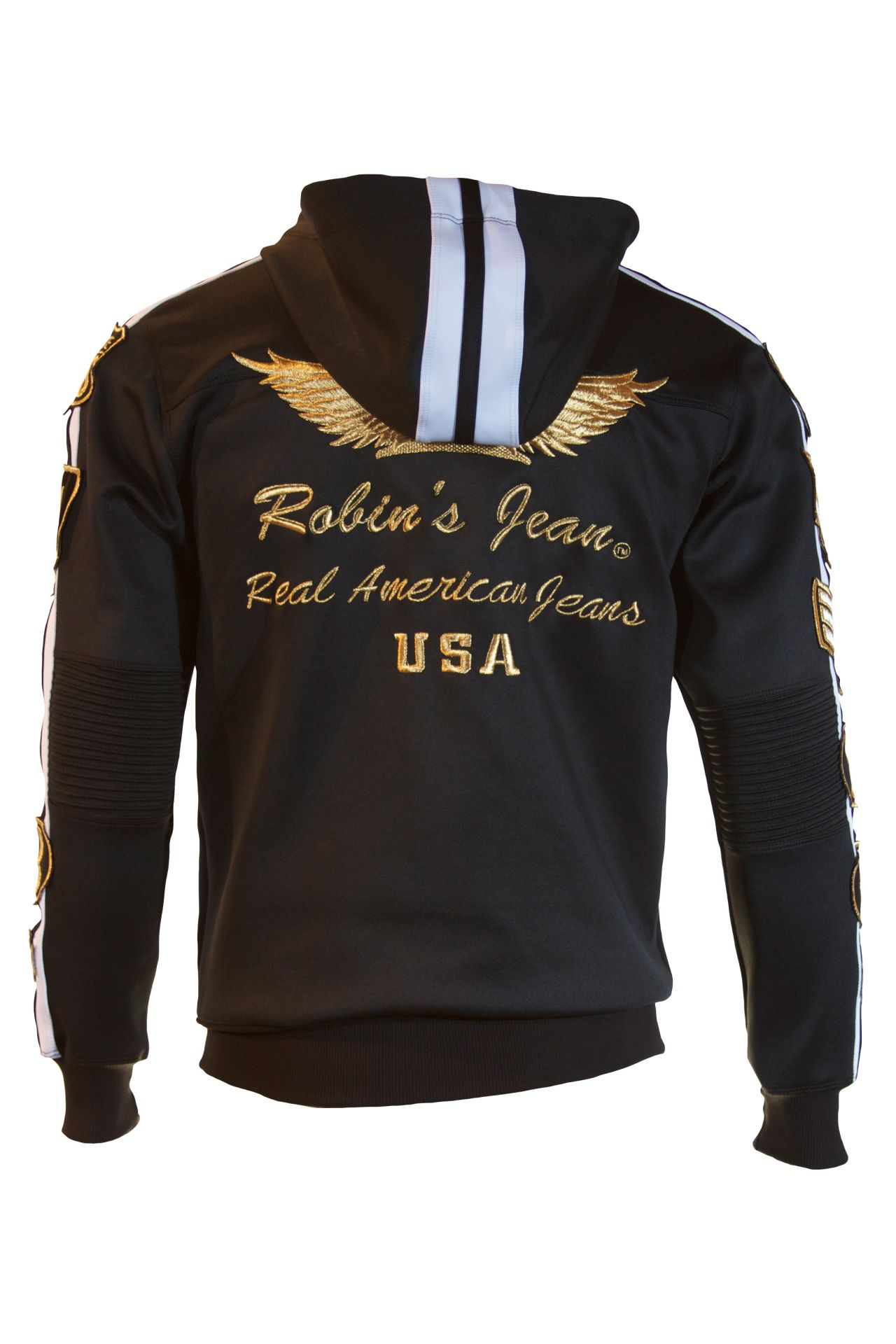TRACK JACKET IN BLACK WITH GOLD PATCHES