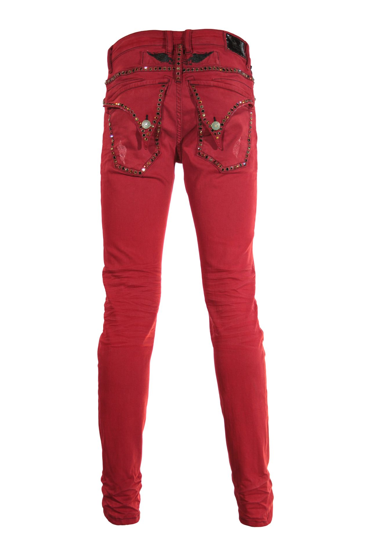 SKINNY LONG FLAP IN F_UP RED WITH STUDS
