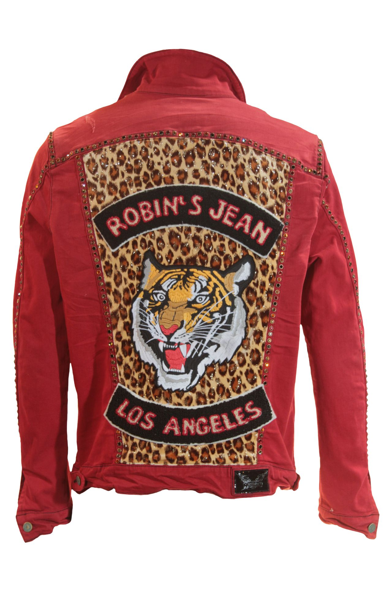LIMITED DENIM JACKET IN F_UP RED WITH TIGER PATCH & STUDS