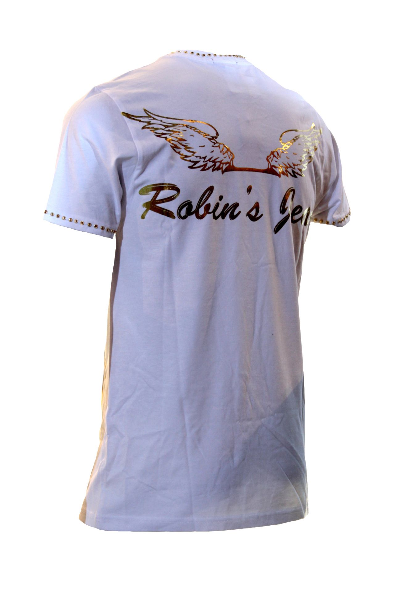 CREW TEE IN WHITE WITH GOLD PRINT & STUDS