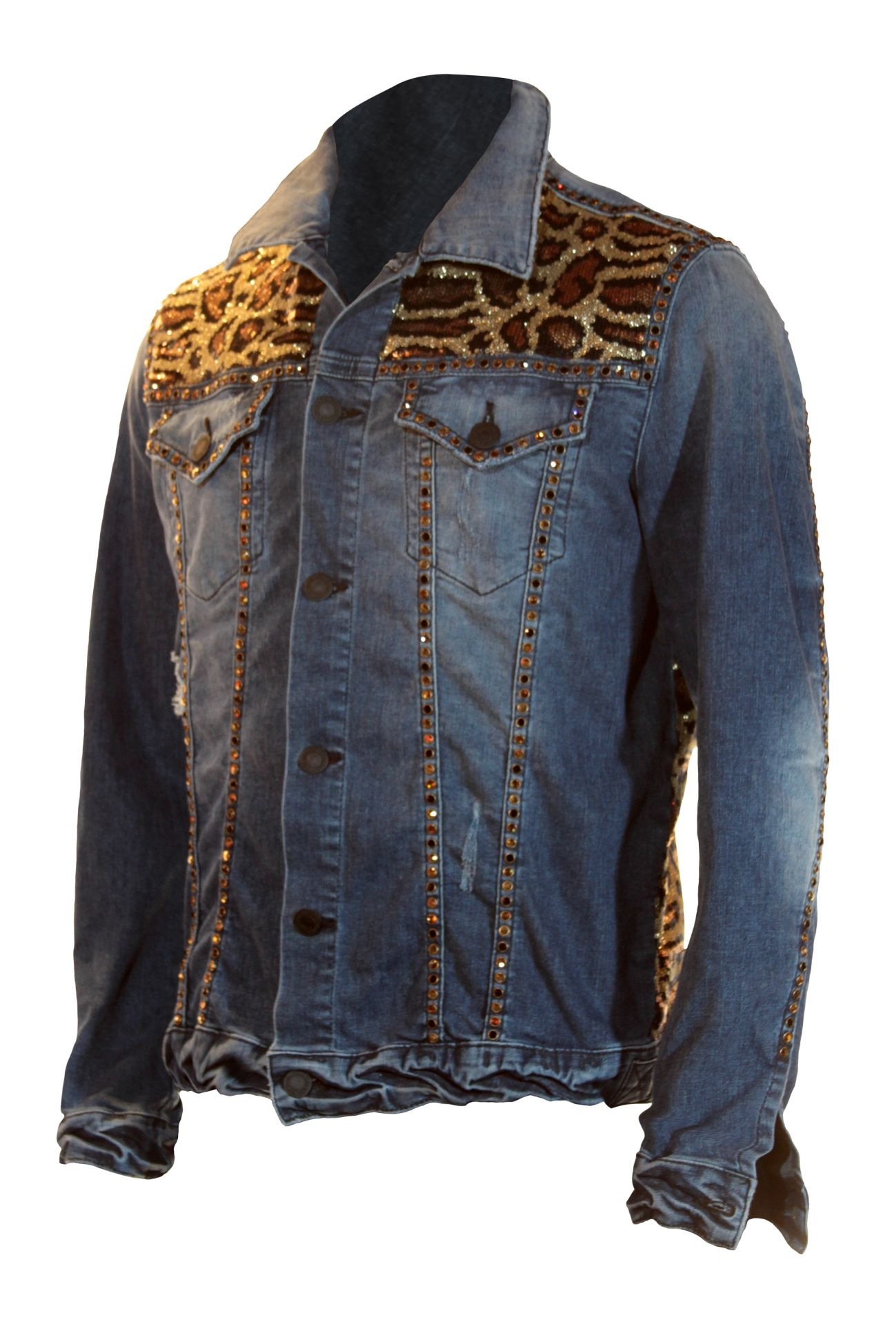 LIMITED LEOPARD SEQUIN DENIM JACKET WITH PATCH AND SW
