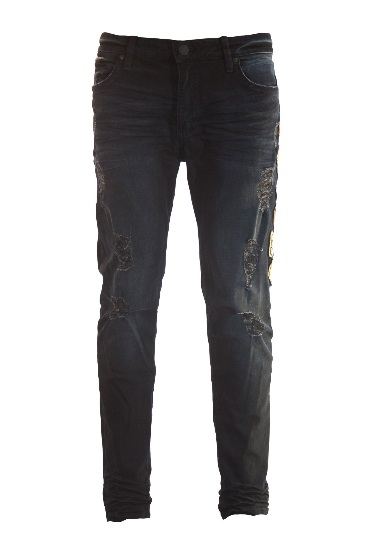 SKINNY IN F-UP BLACK WITH GOLD PATCHES