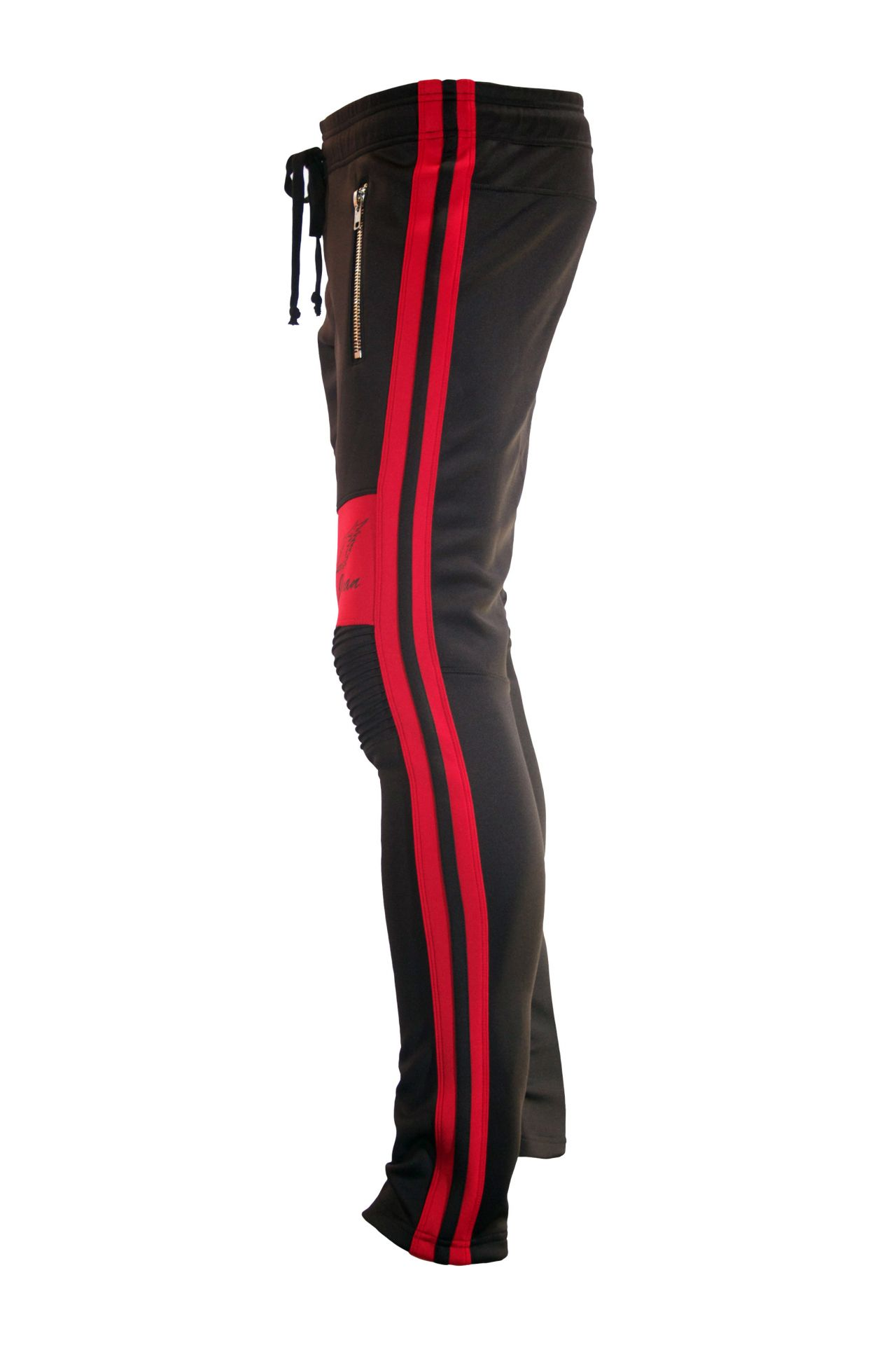 SIGNATURE  JOGGER IN BLACK WITH RED STRIPES