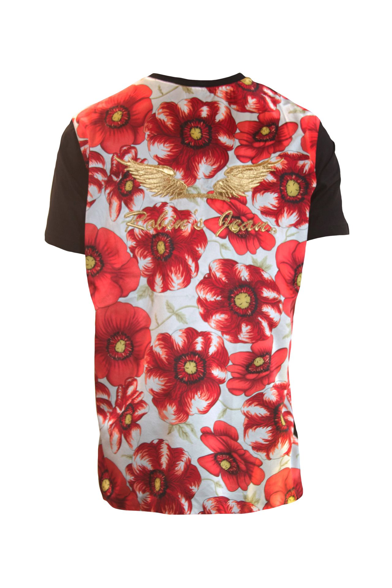 FLORAL SILK TEE WITH WINGS IN BLACK