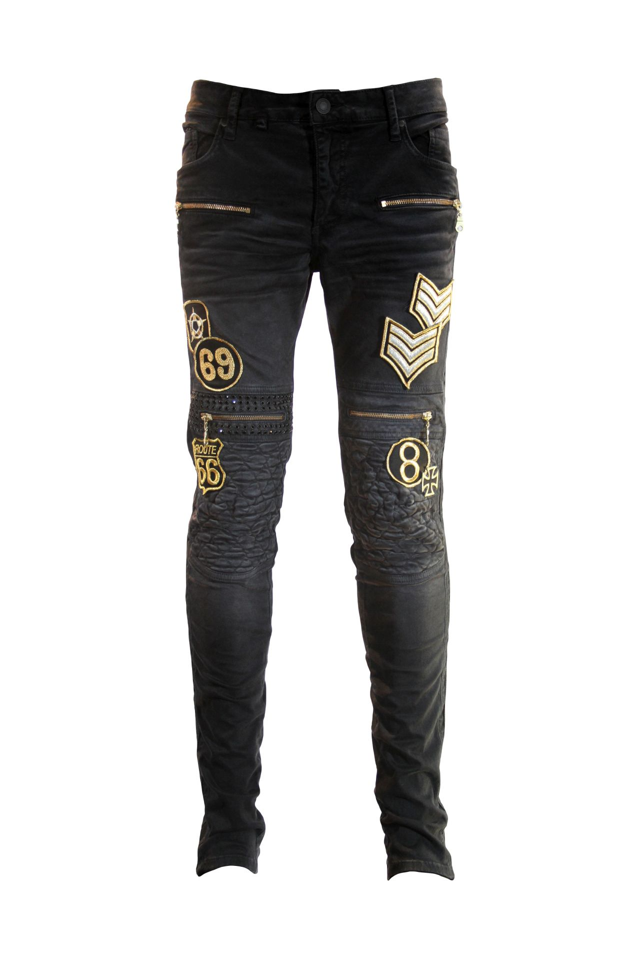 RACER JEAN IN PIG SPRAY BLACK WITH PATCHES