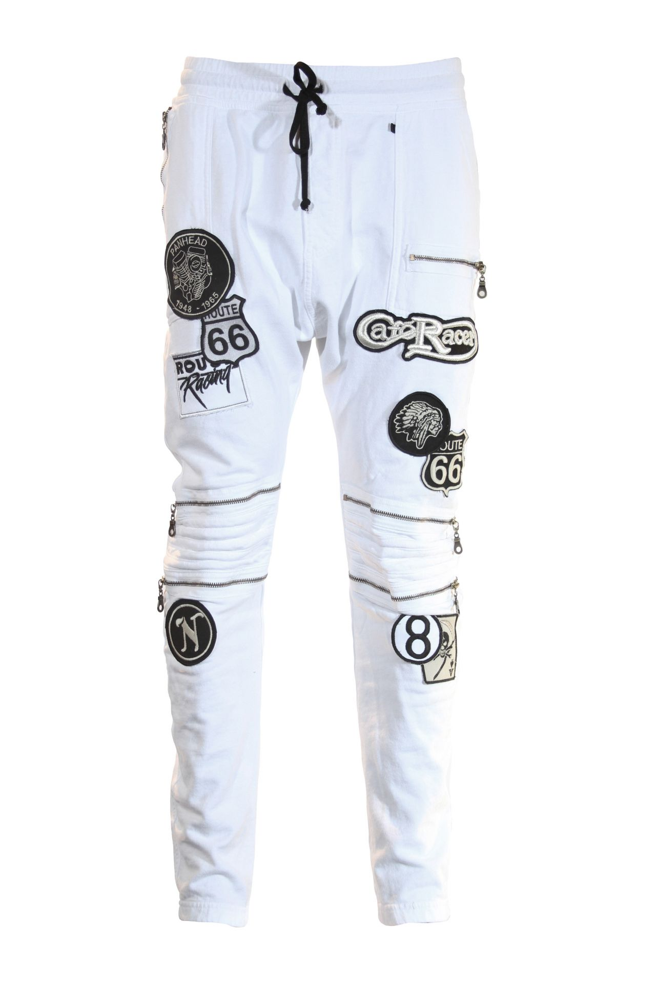 MOTO JOGGER WITH PATCHES AND ZIPS IN WHITE