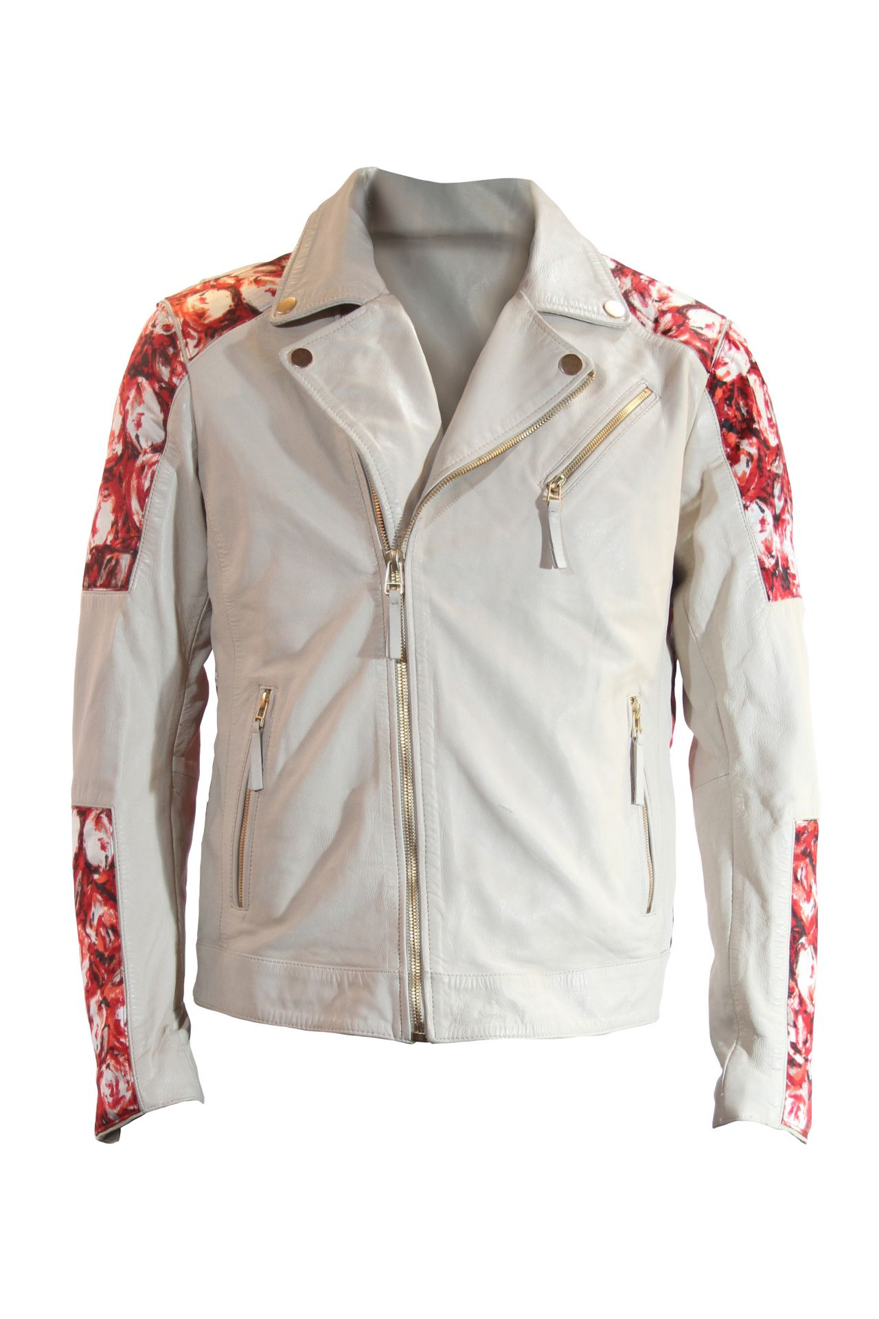 WHITE LEATHER BIKER WITH FLOWERS