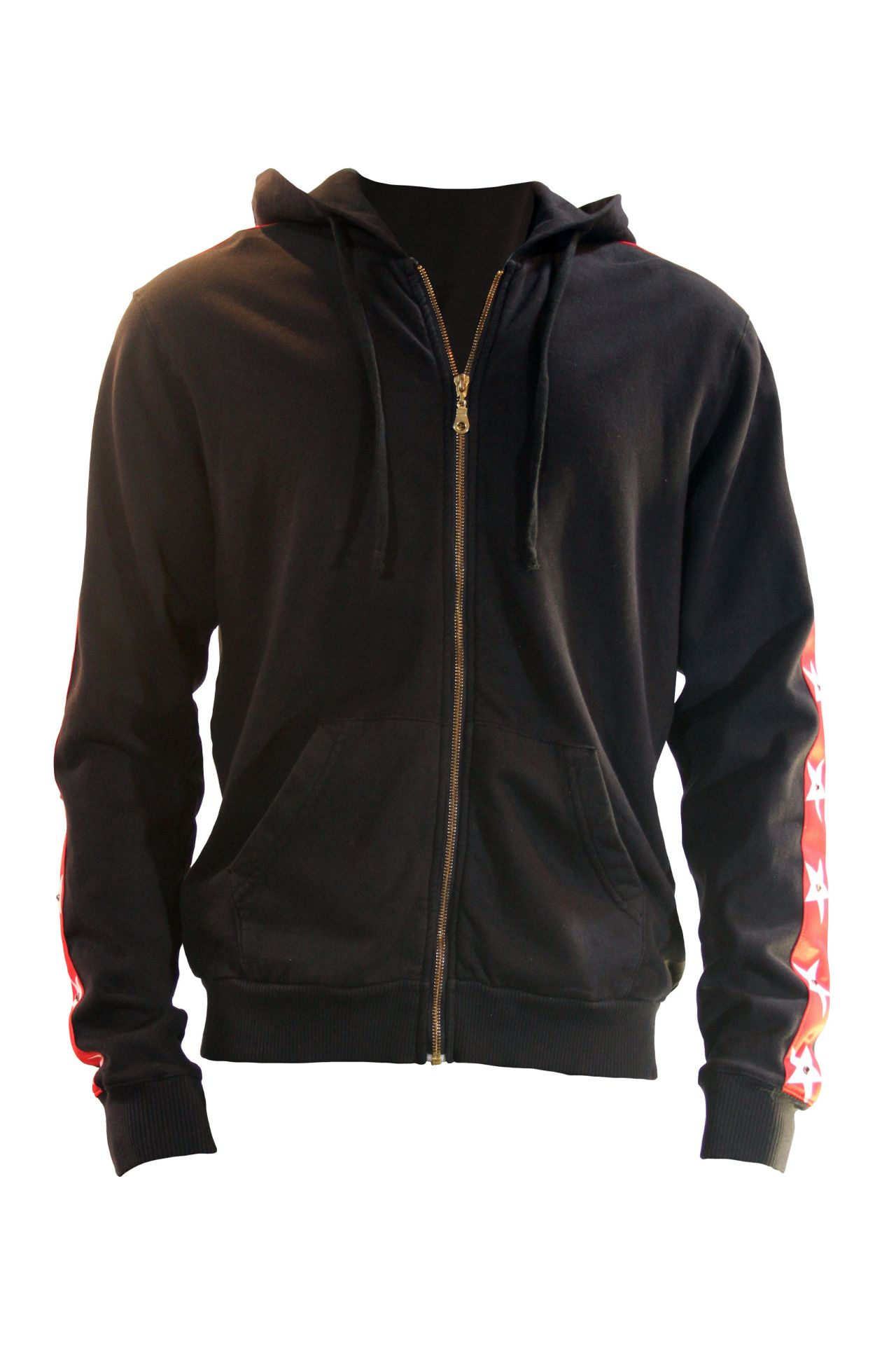 STAR HOODIE IN BLACK WITH RED STRIPES