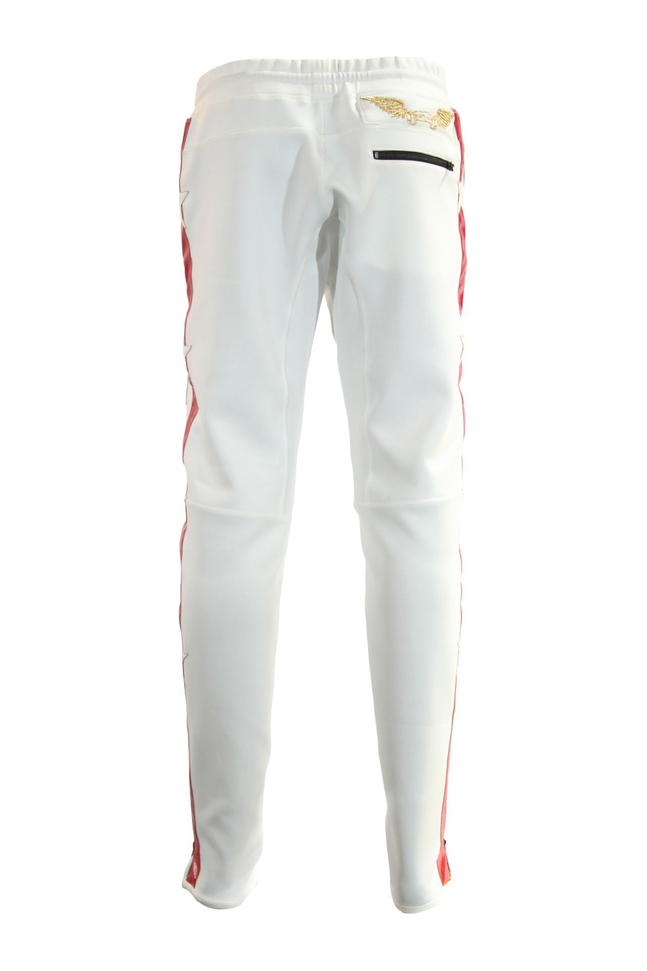 WHITE JOGGER WITH RED STRIPE AND PATCHWORK