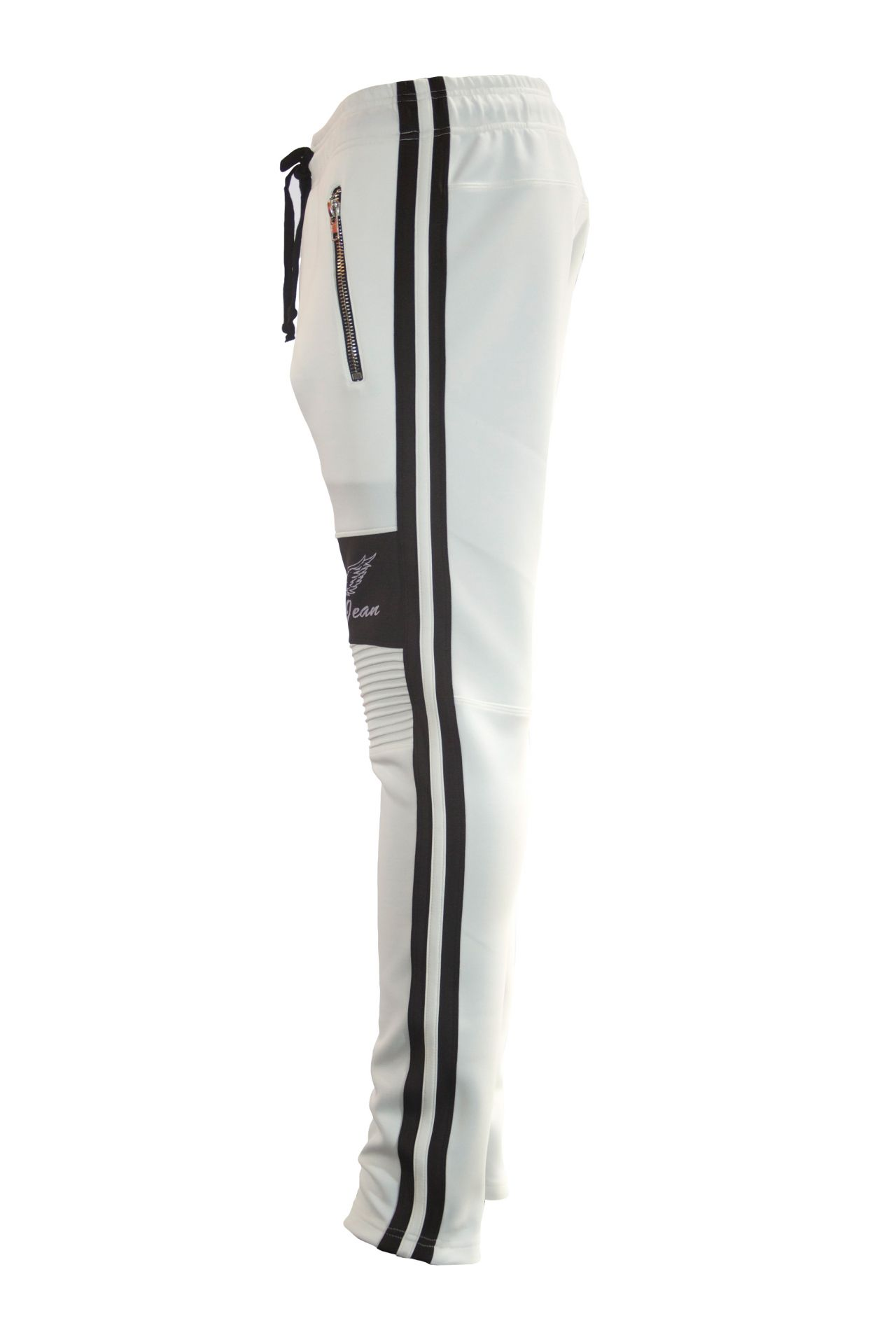 SIGNATURE  JOGGER IN WHITE WITH BLACK STRIPES