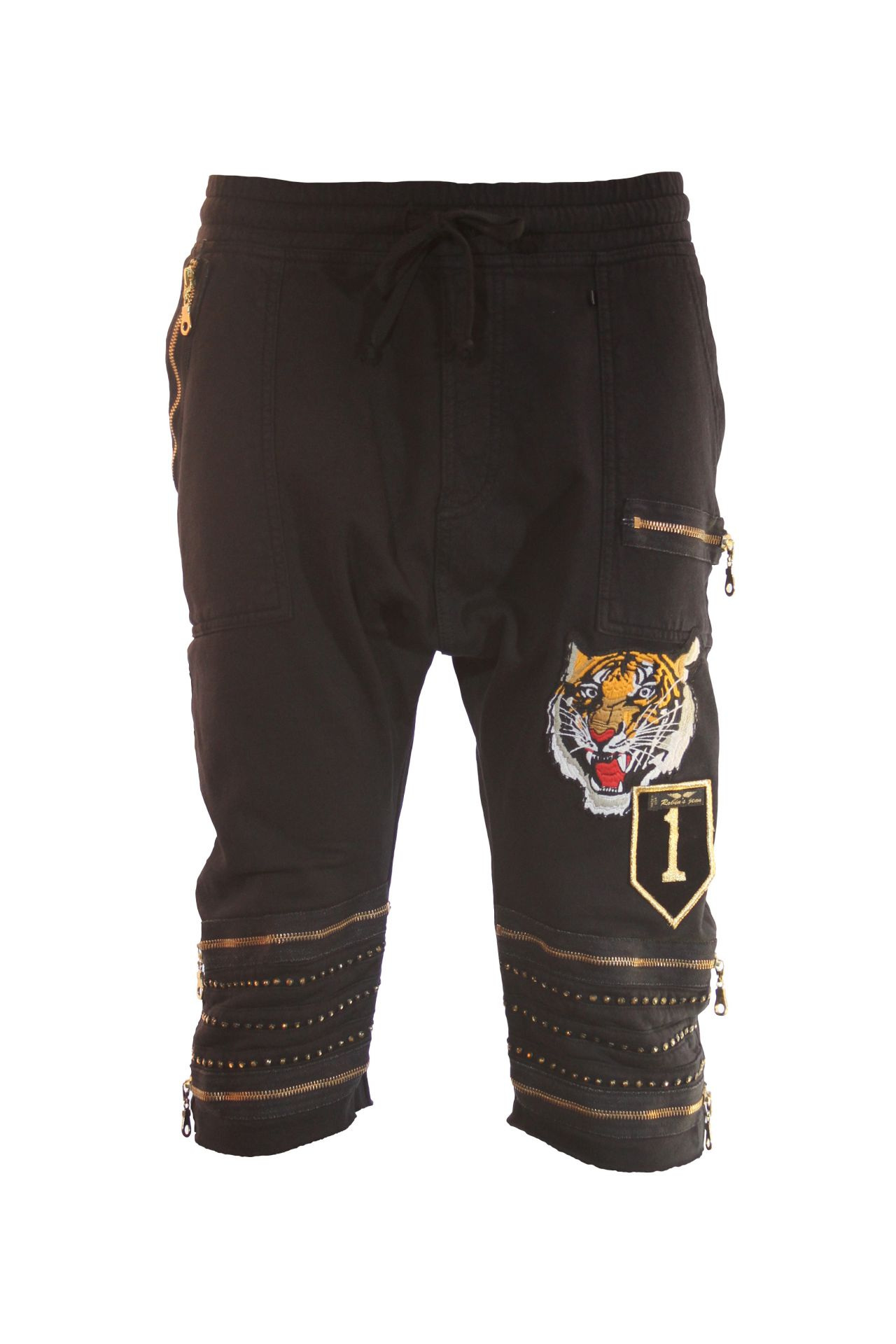 TIGER PATCH SHORT IN BLACK