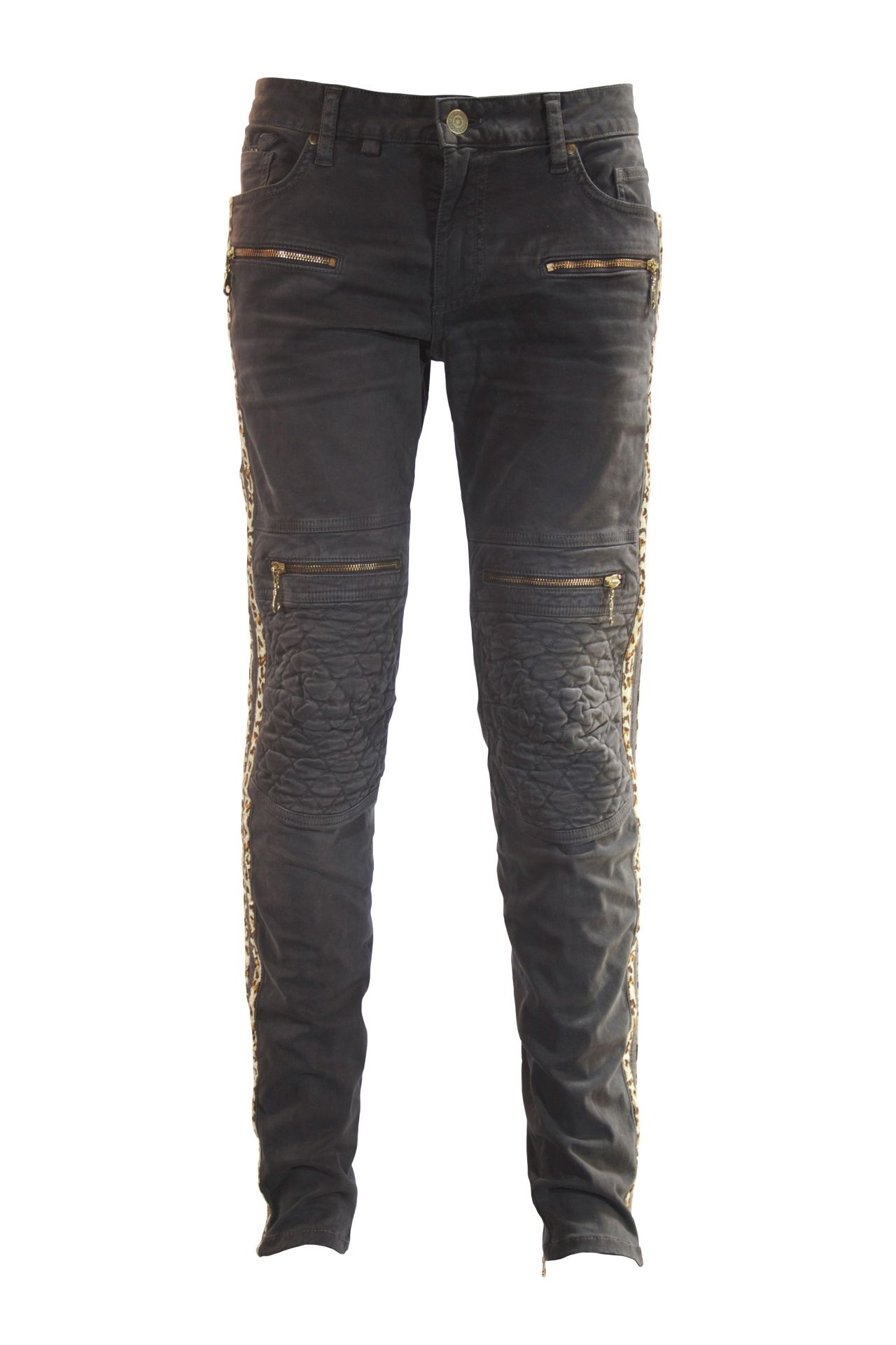 RACER JEAN IN CHARCOAL BLACK WITH CHEETAH STRIPES